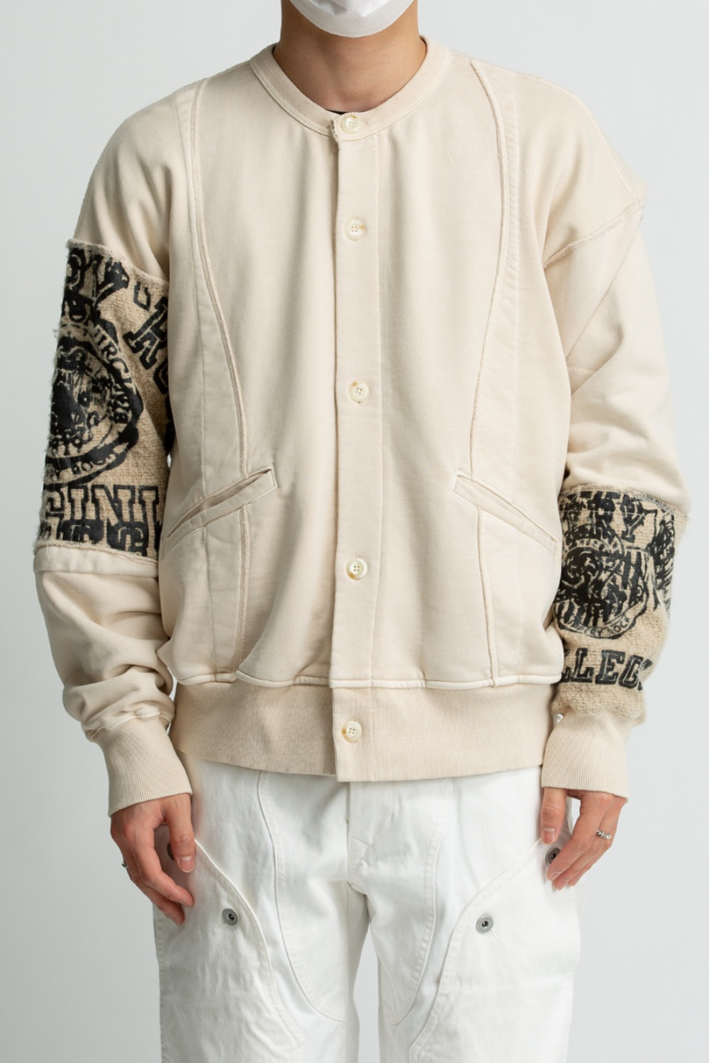 RAW EDGE COLLEGE CARDIGAN CREAM