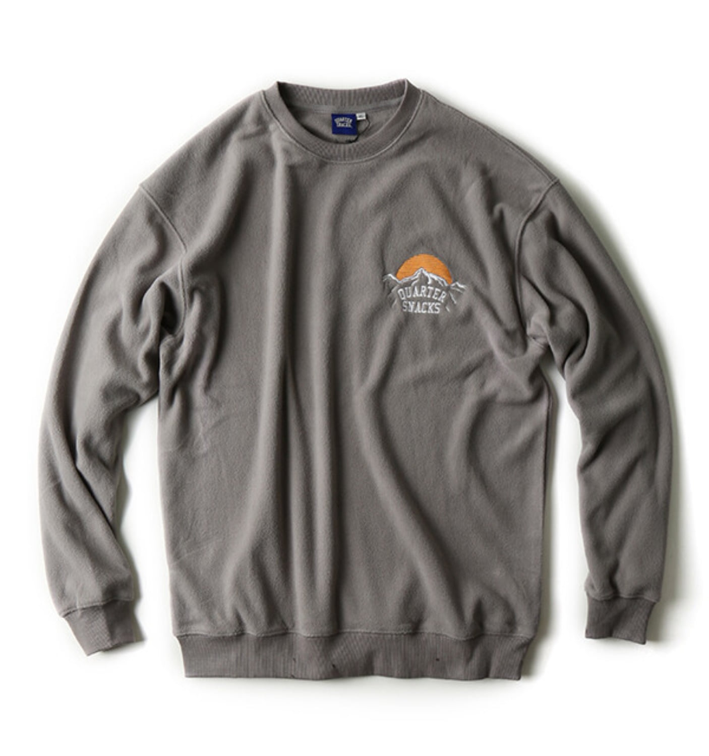 MOUNTAIN LOGO MICRO FLEECE CREW GREY
