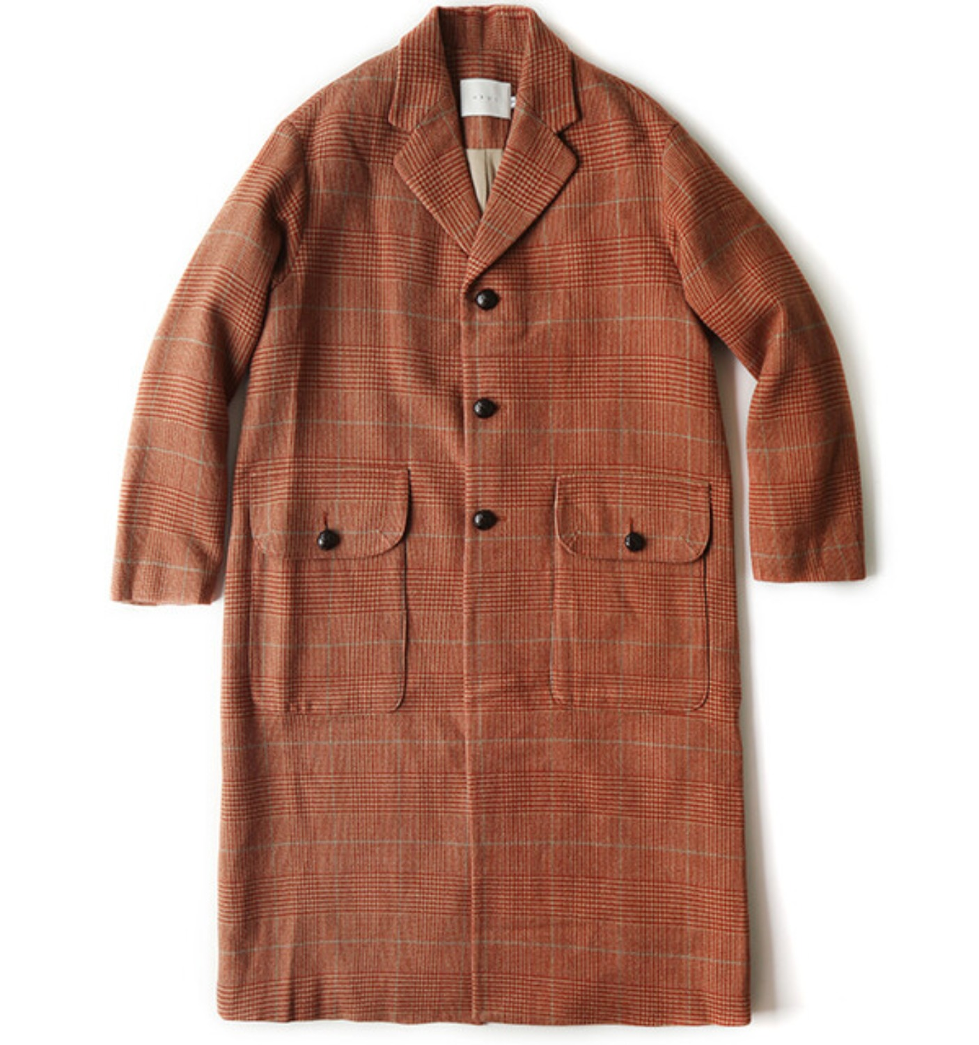 DADDYS GLEN CHECK COAT(NCO06008A) SAND/RUST