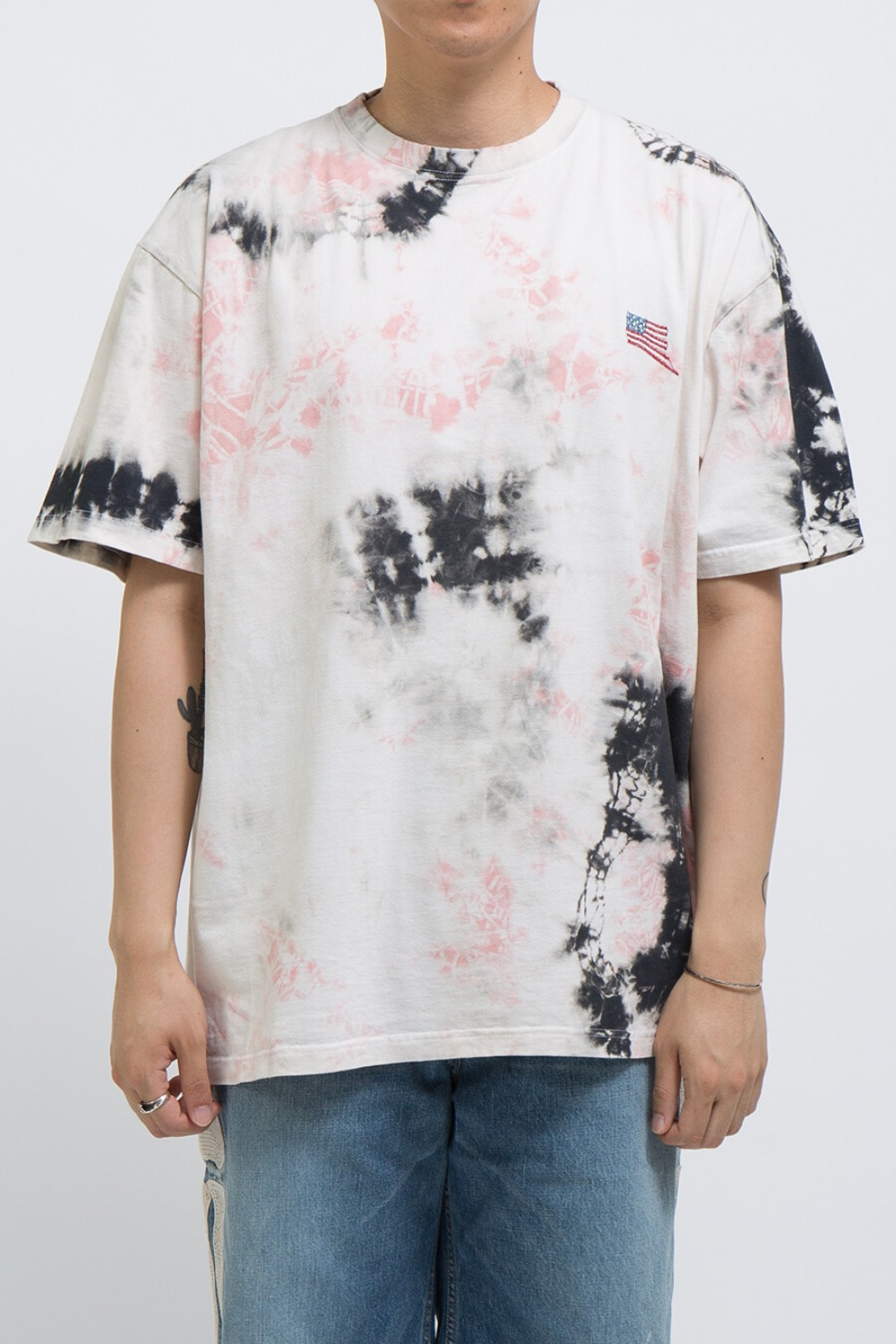 JERSEY BONE BIG-T(ASHBURY DYED) BLACK/PINK