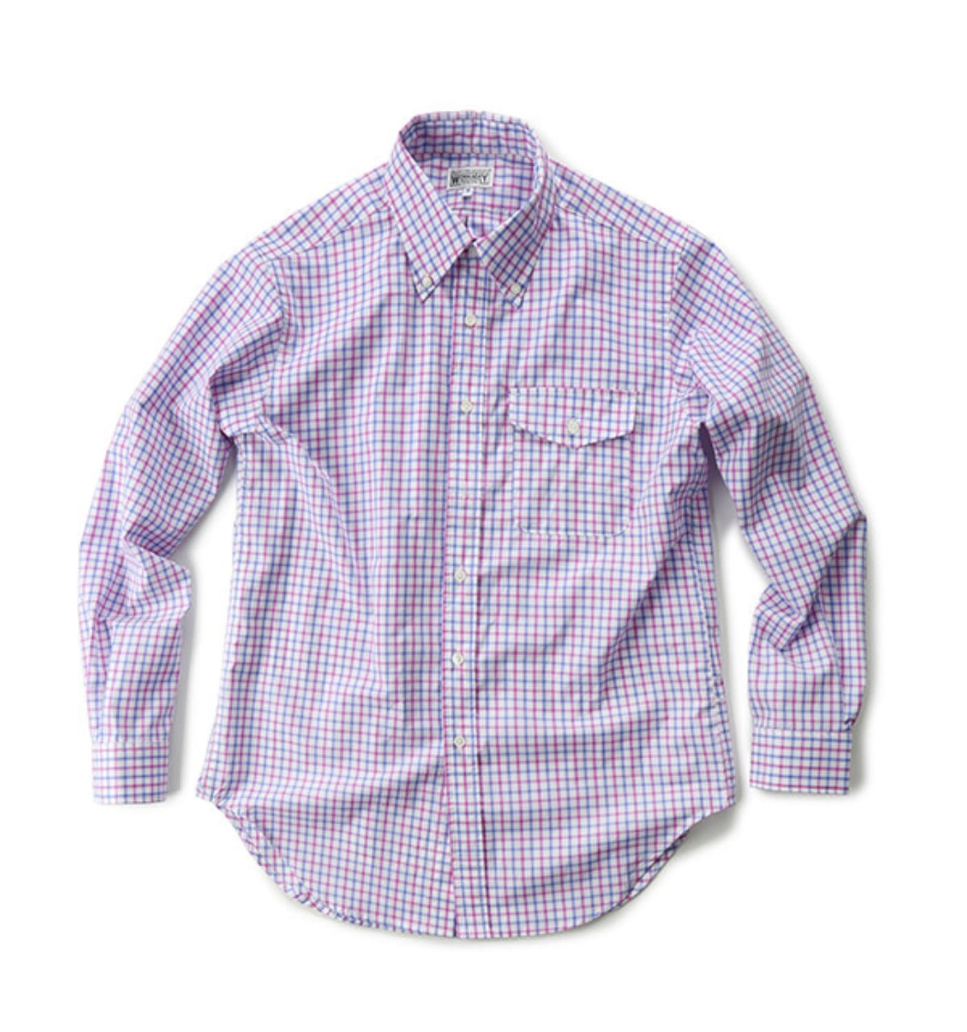 PINK/BLUE COTTON GRAPH CHECK BD SHIRT