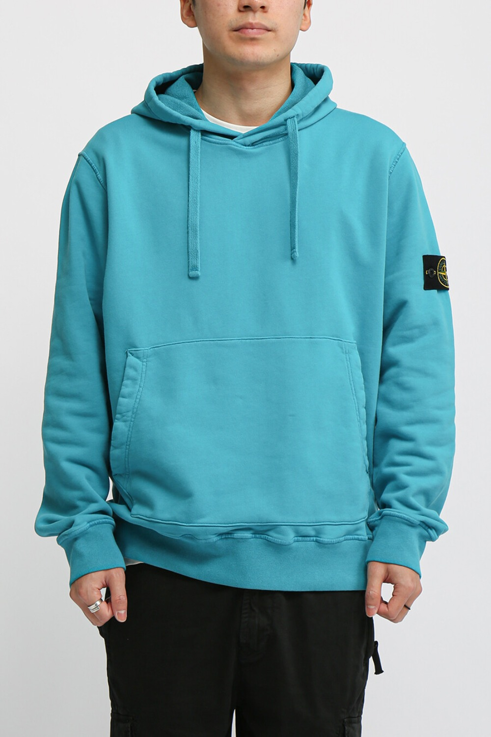 COTTON FLEECE GARMENT DYED HOODED SWEAT SHIRT AQUA