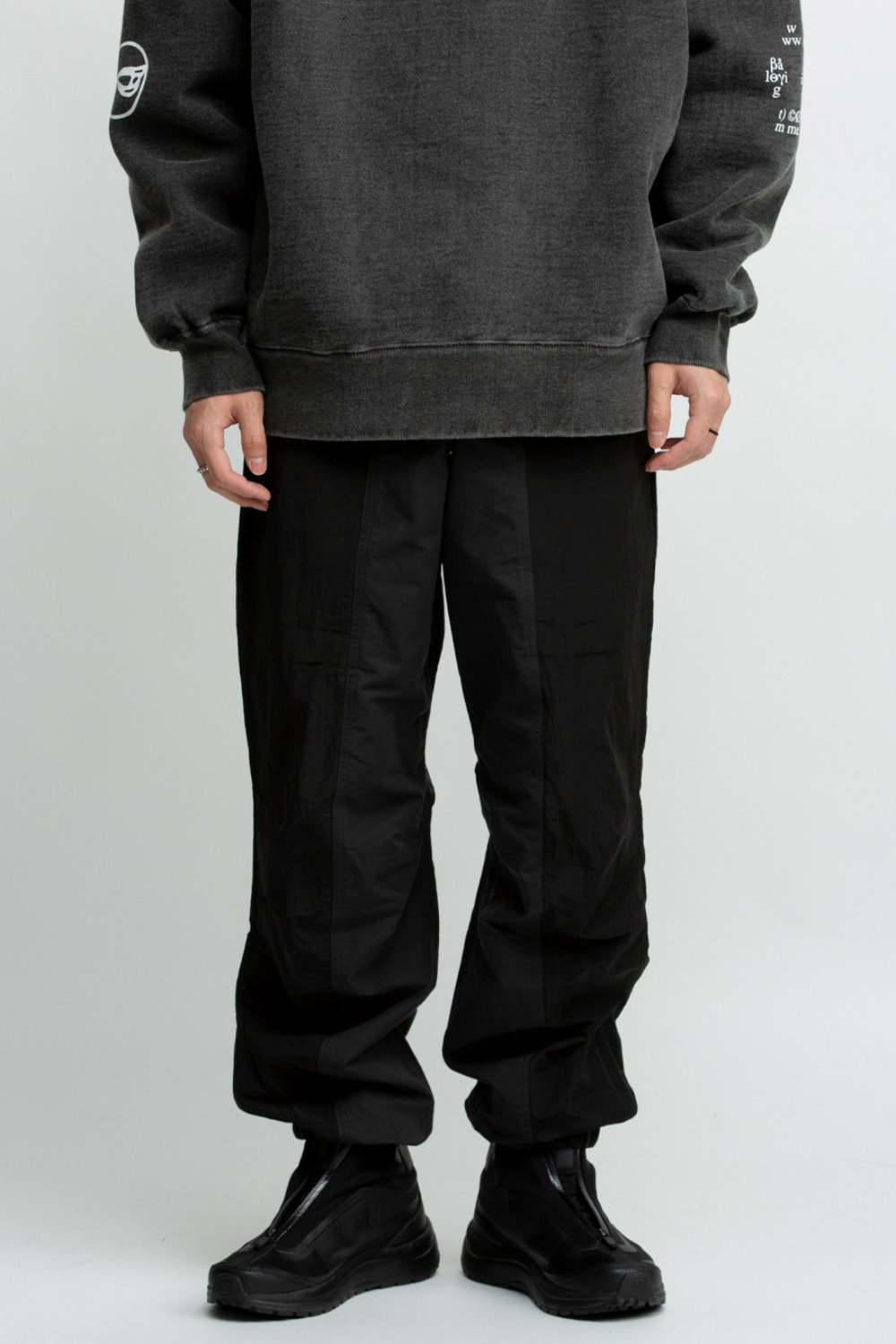 COLOR BLOCKED NYLON TRACK PANT BLACK