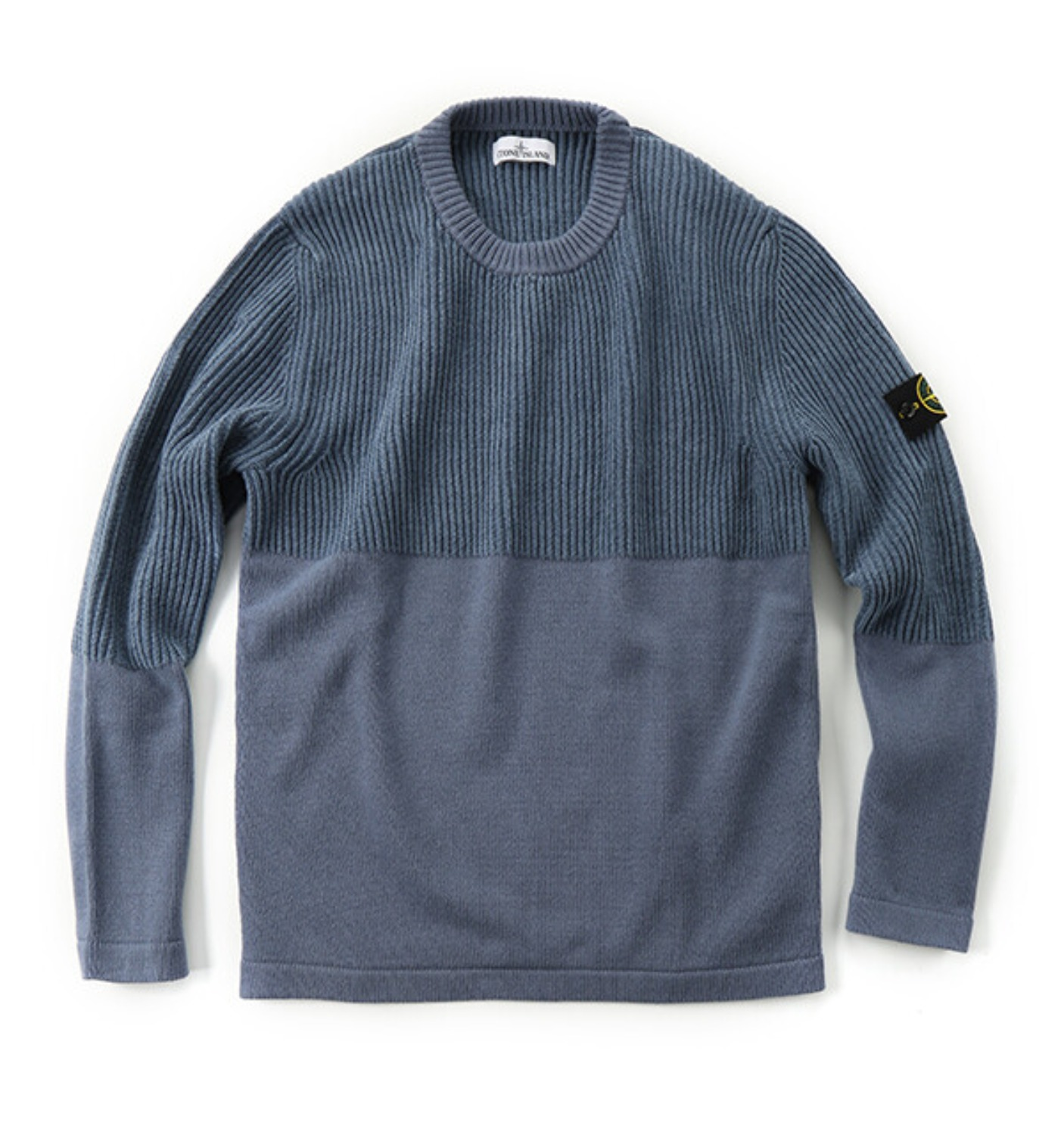 COTTON CHENILLE LAMBSWOOL MIX CREW SWEATER BLUE