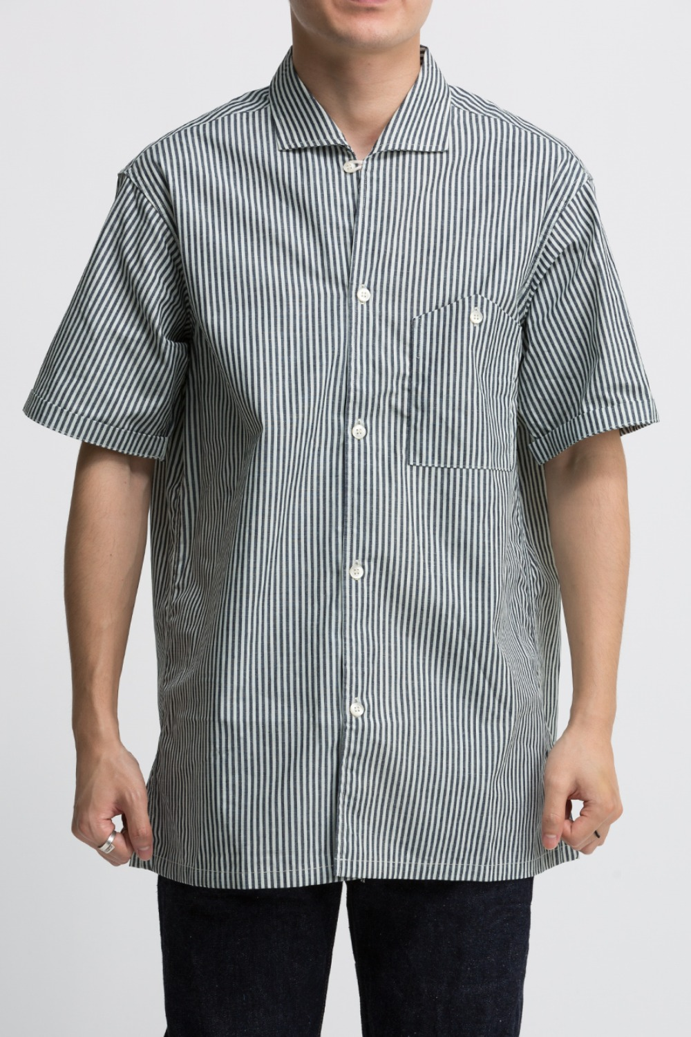 LOT 3091 S/S OPEN COLLAR SHIRTS STRIPE (NARROW)