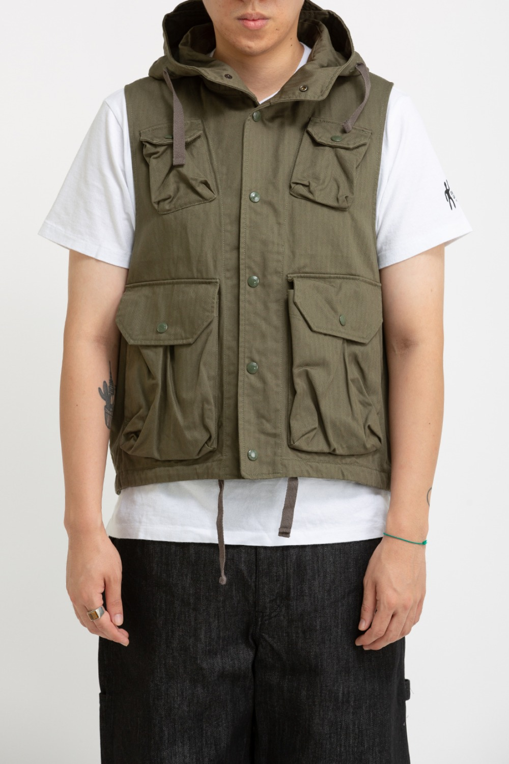 FIELD VEST OLIVE COTTON HERRINGBONE