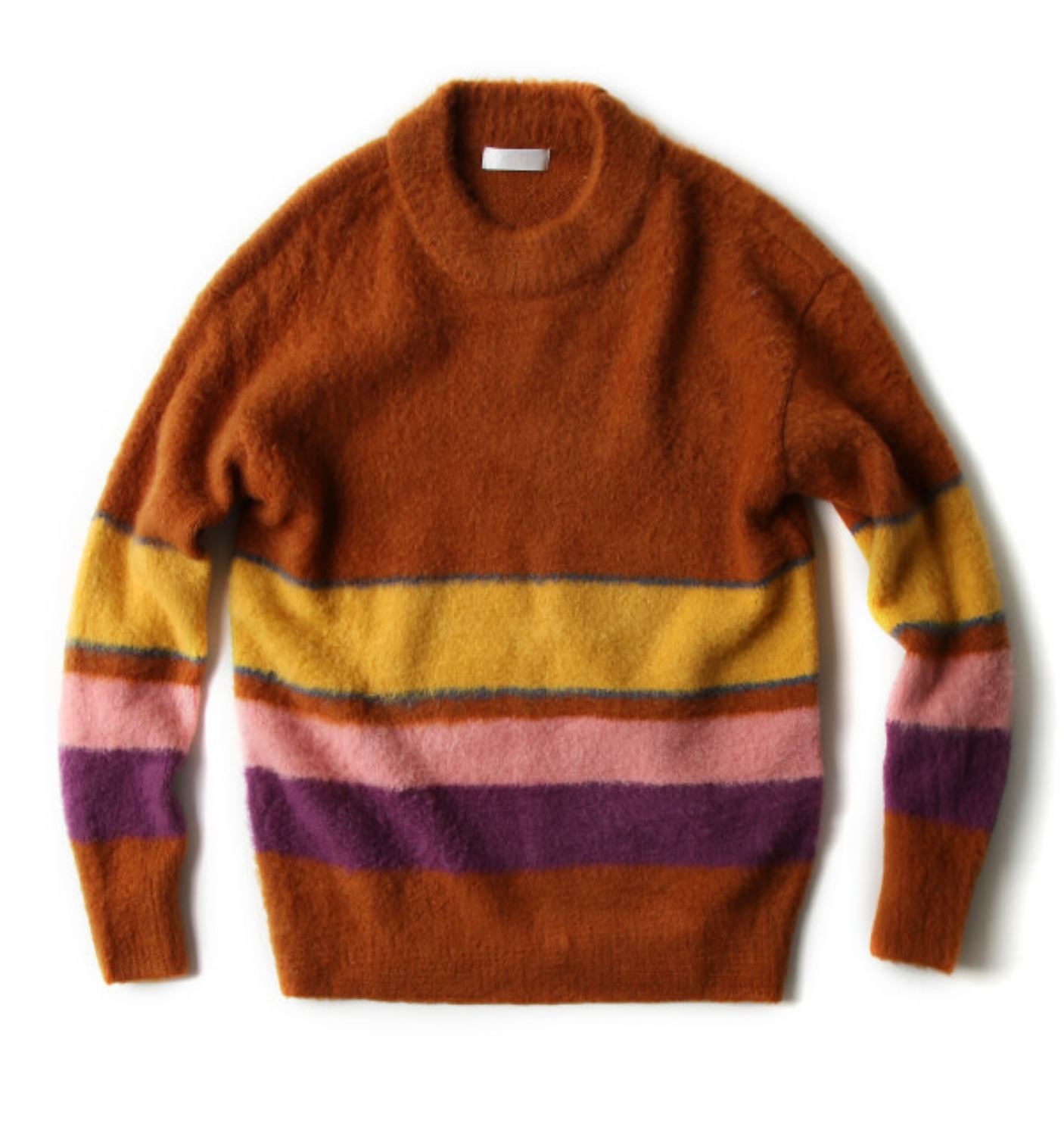 COLOR STRIPE PULLOVER KNIT CARAMEL
