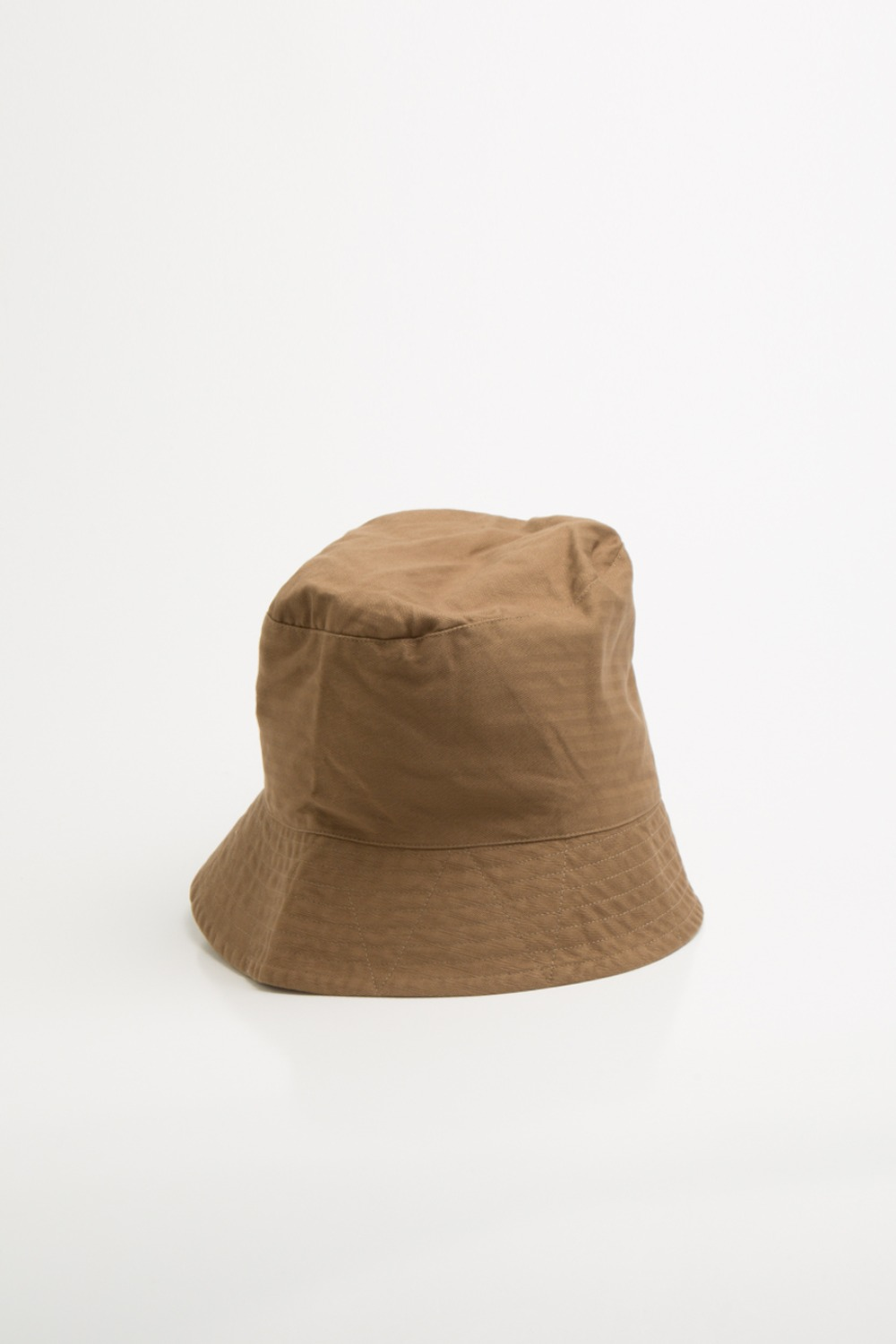 BUCKET HAT BROWN COTTON HERRINGBONE