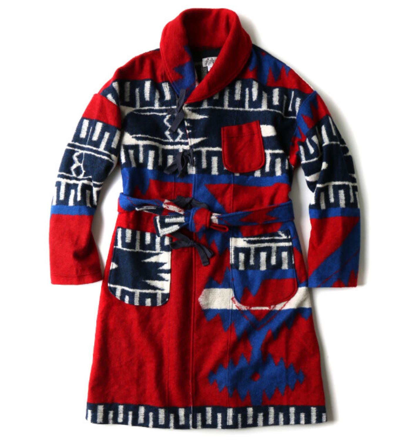 SHAWL COLLAR KNIT JACKET RED/ROYAL NAVAJO KNIT