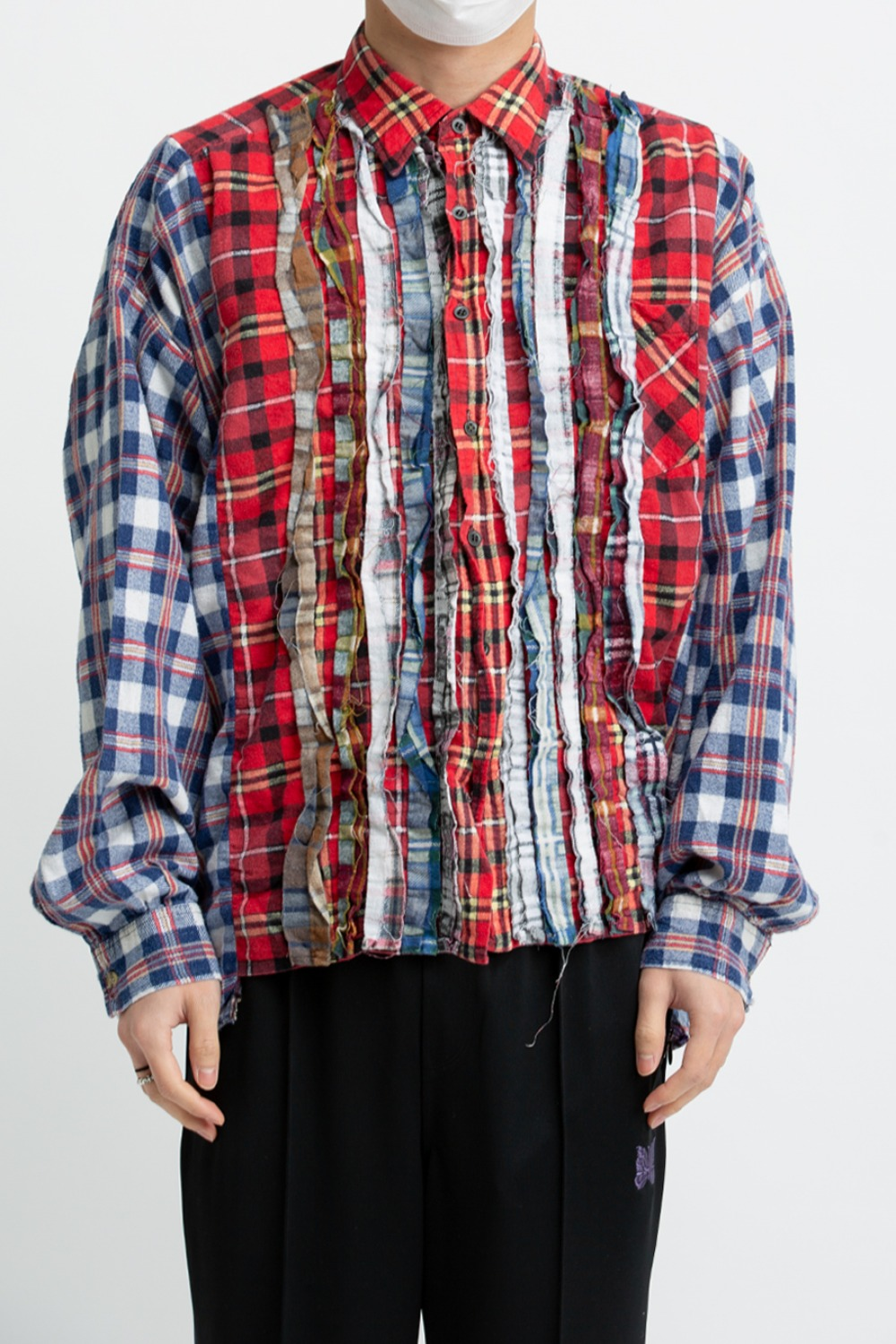 (FRE-1)REBUILD BY NEEDLES FLANNEL SHIRT - RIBBON WIDE SHIRT ASSORTED