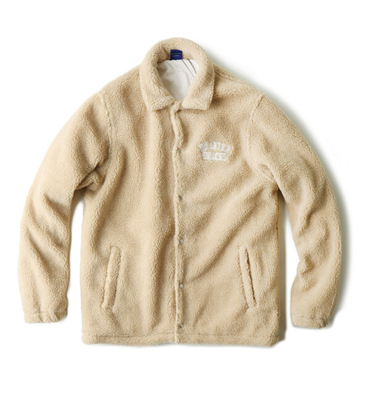 CHUNKY FLEECE COACH JACKET TAN