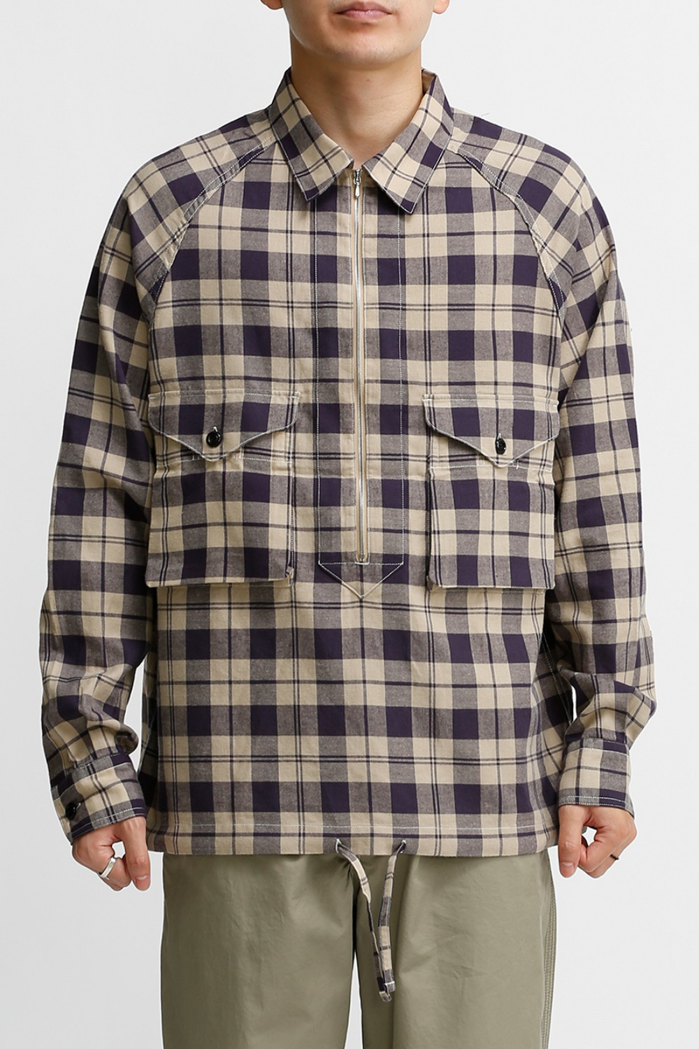 SCOUT PULLOVER SHIRT / PURPLE & IVORY CHECK
