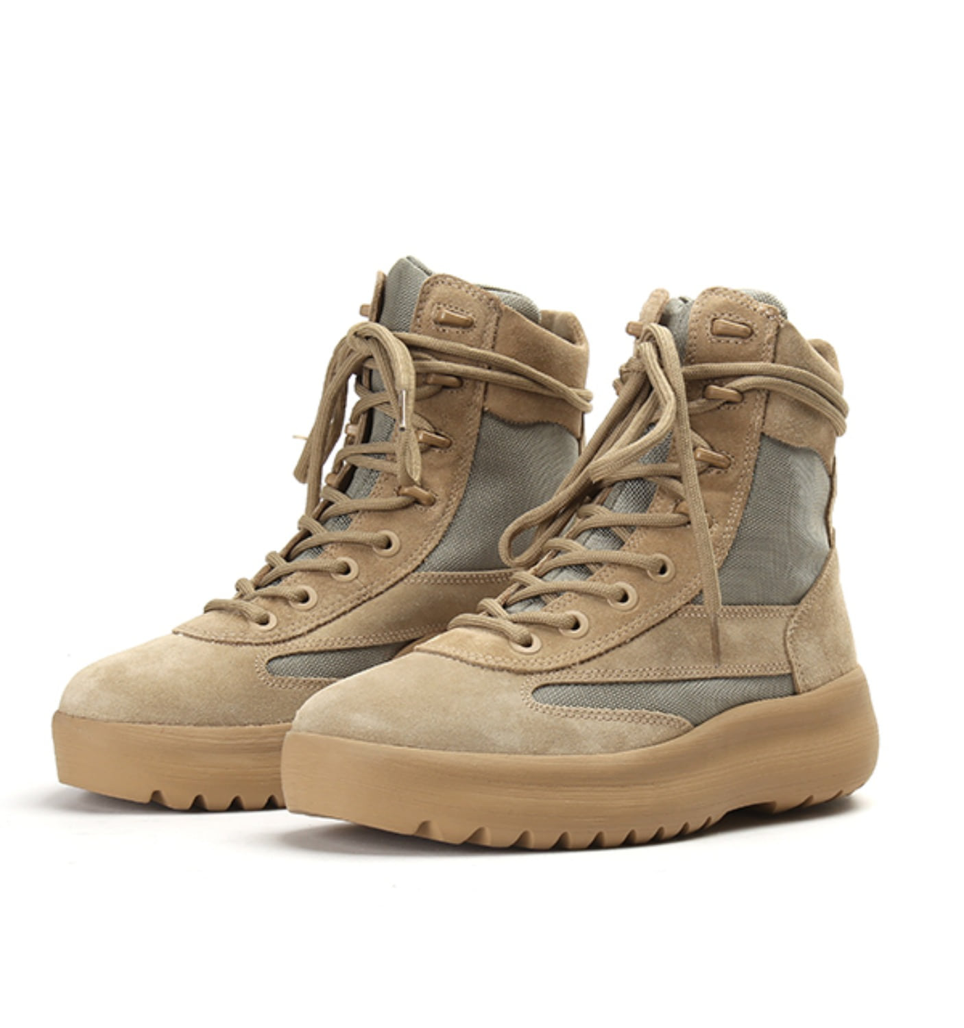 MILITARY BOOT THICK SUEDE&NYLON TAUPE(KM4005.132)