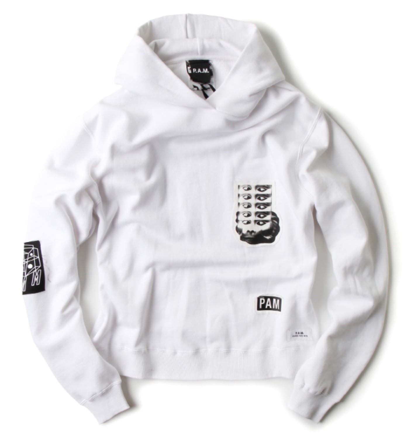 PSILOCYBE PATCH HOODED SWEAT WHITE