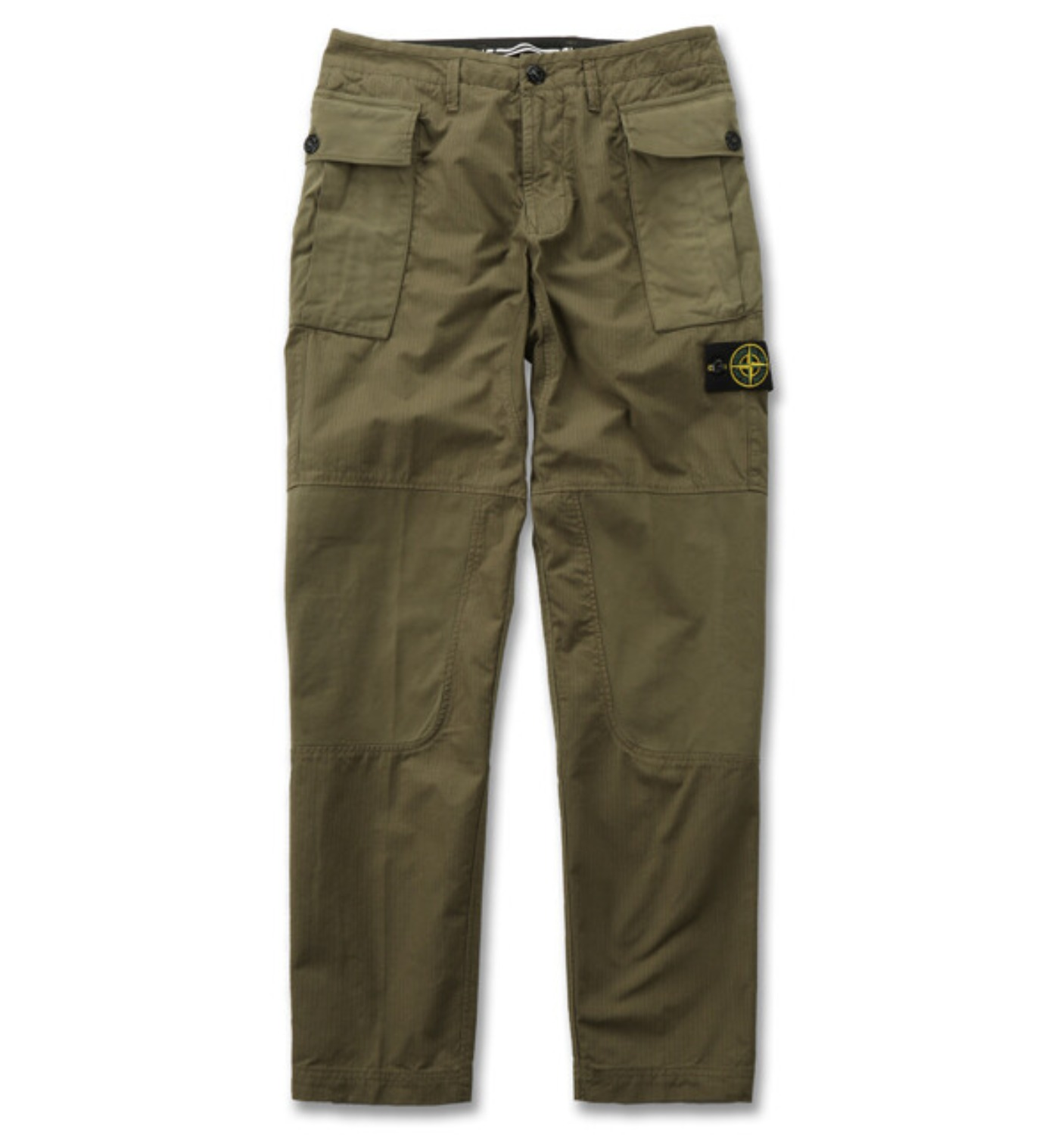 GAUZED COTTON RIP STOP GARMENT DYED PANTS OLIVE