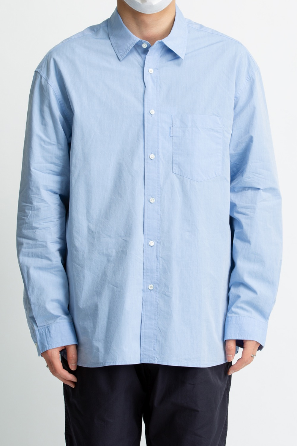 COMFORT SHIRT GENETIC COTTON 120/2 CHAMBRAY TYPEWRITER CLOTH WASHER FINISH SAX
