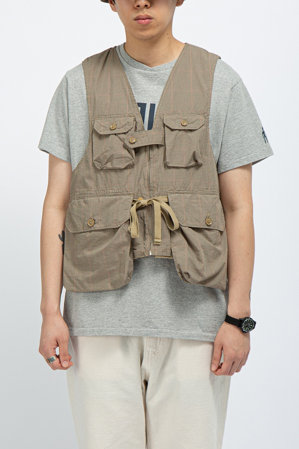 GAME VEST KHAKI NYCO MINI TATTERSALL