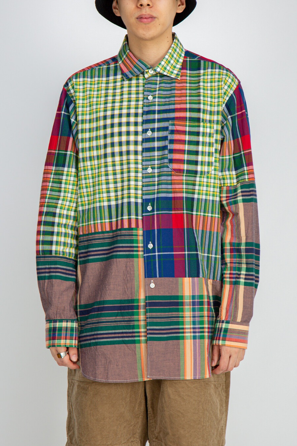 SPREAD COLLAR SHIRT BIG MADRAS PLAID RED BLUE GREEN