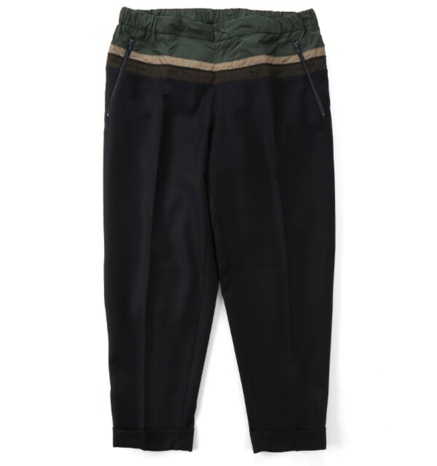 19WCM-P11110 COLOR BLOCK WOOL PANT NAVY