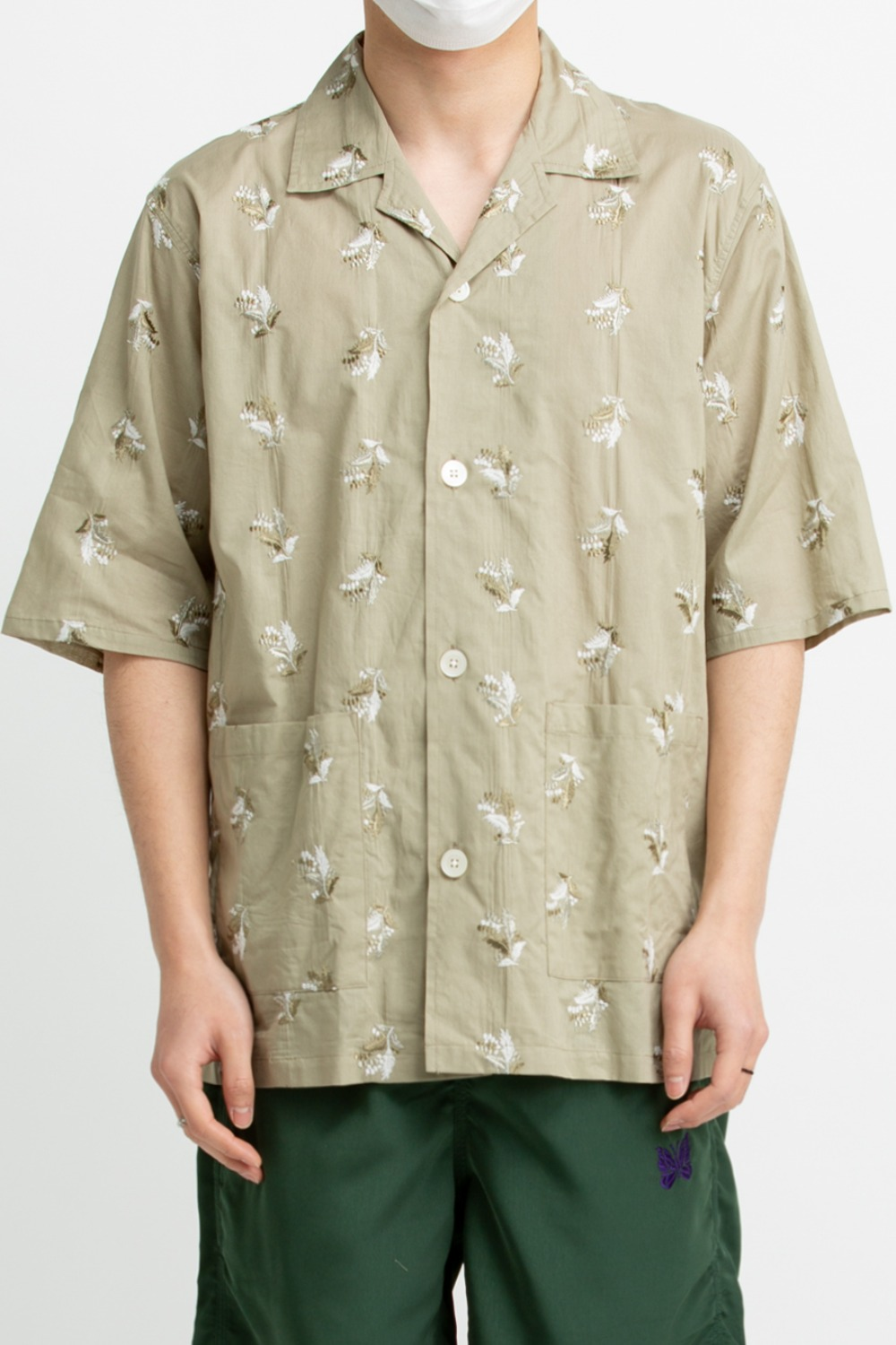 NEEDLES CABANA SHIRT – PLANT EMB GREEN