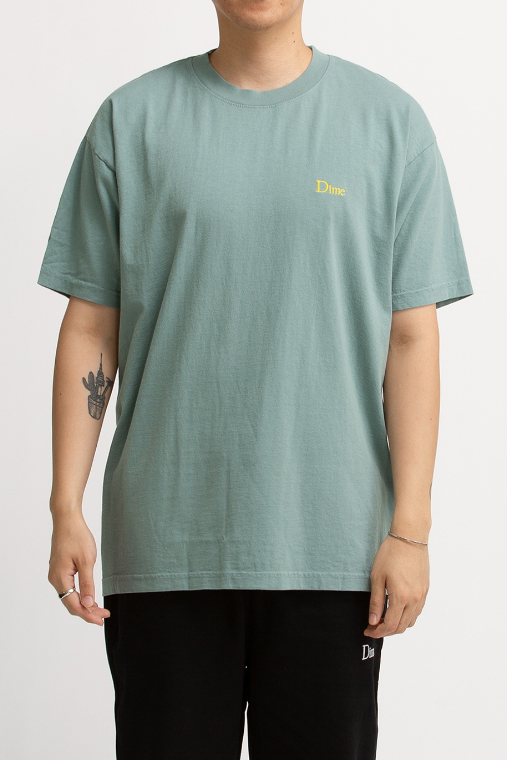 DIME CLASSIC LOGO EMBROIDERED T-SHIRT GREEN