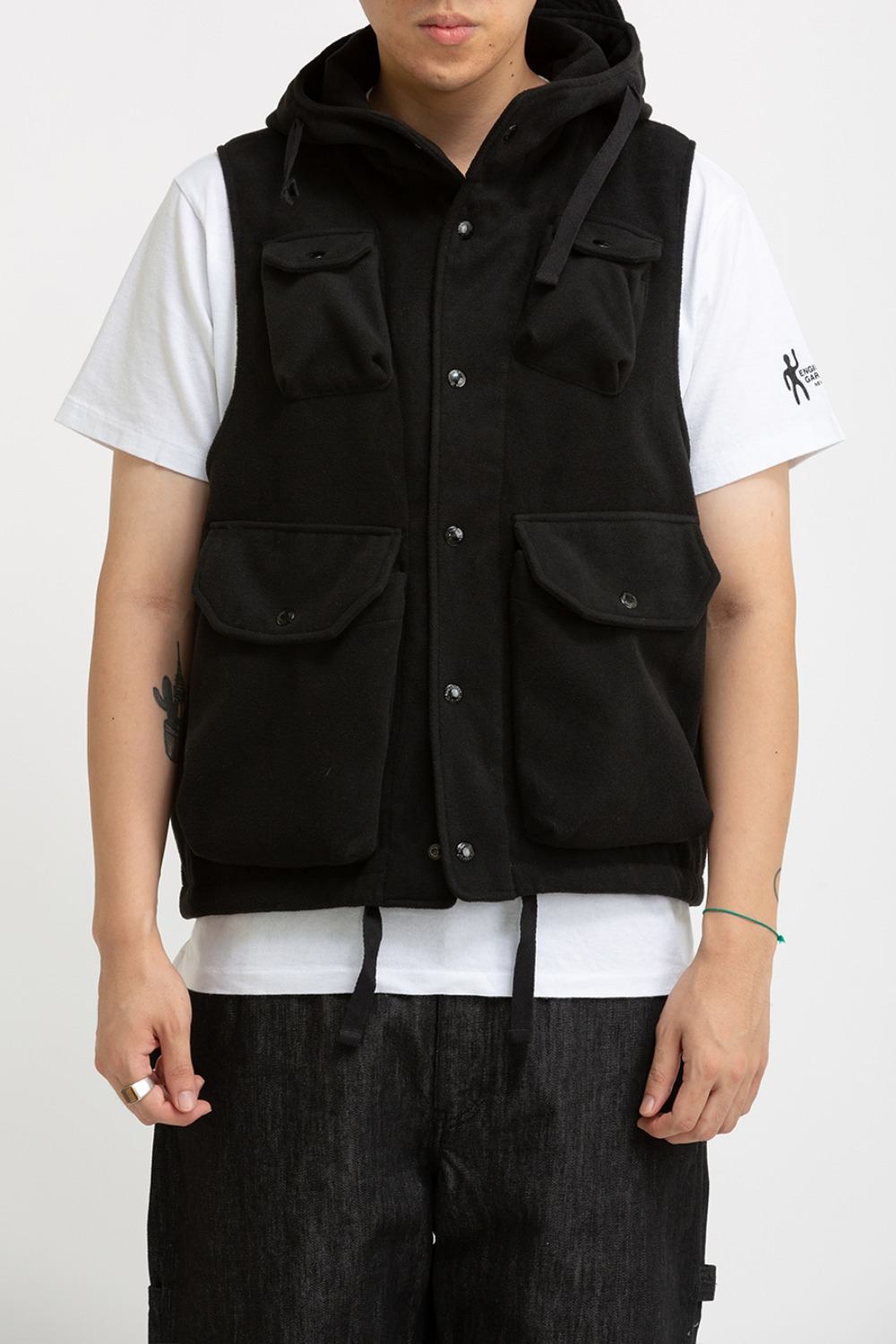 (RESTOCK) FIELD VEST BLACK POLYESTER FAKE MELTON