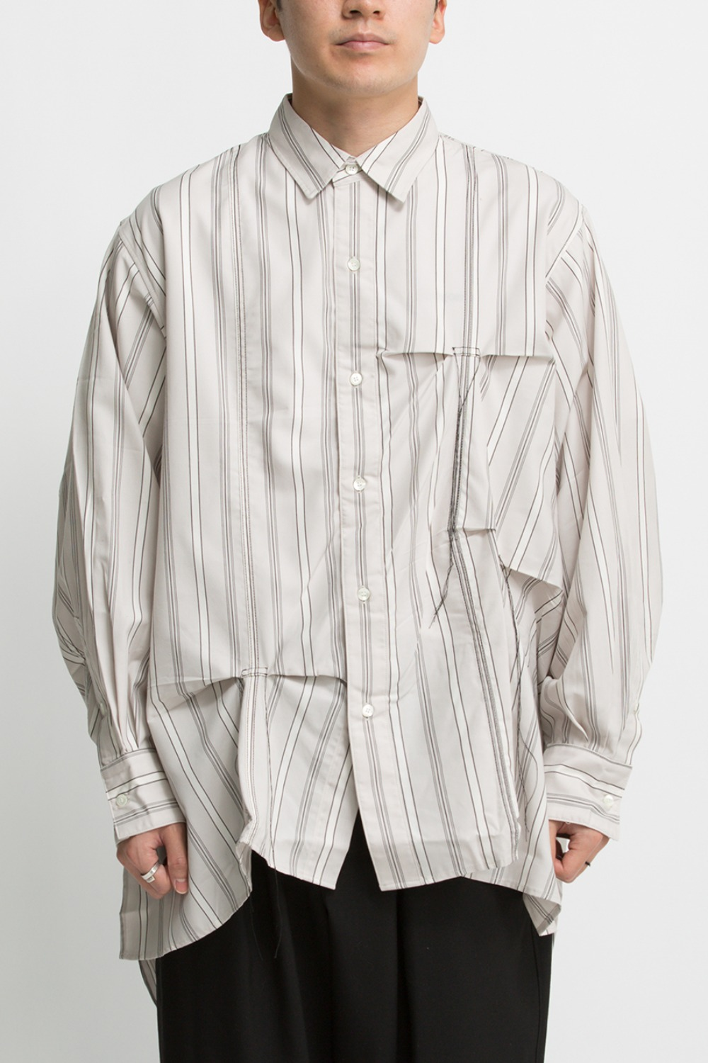 HAND STITCH STRIPE SHIRT BEIGE