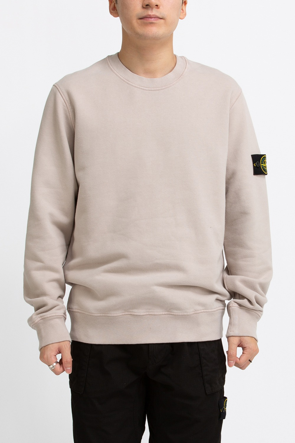 BRUSHED COTTON FLEECE GARMENT DYED SWEATSHIRT BEIGE
