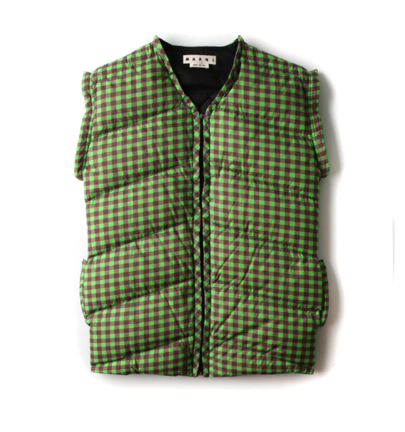PADDED WAIST COAT GREEN CHECK(PIMUZFB003)