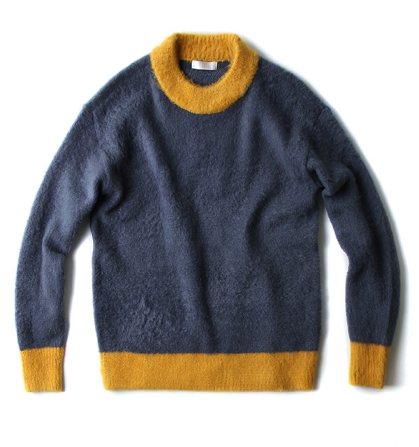 COLOR BLOCK PULLOVER KNIT BLUE/MUSTARD