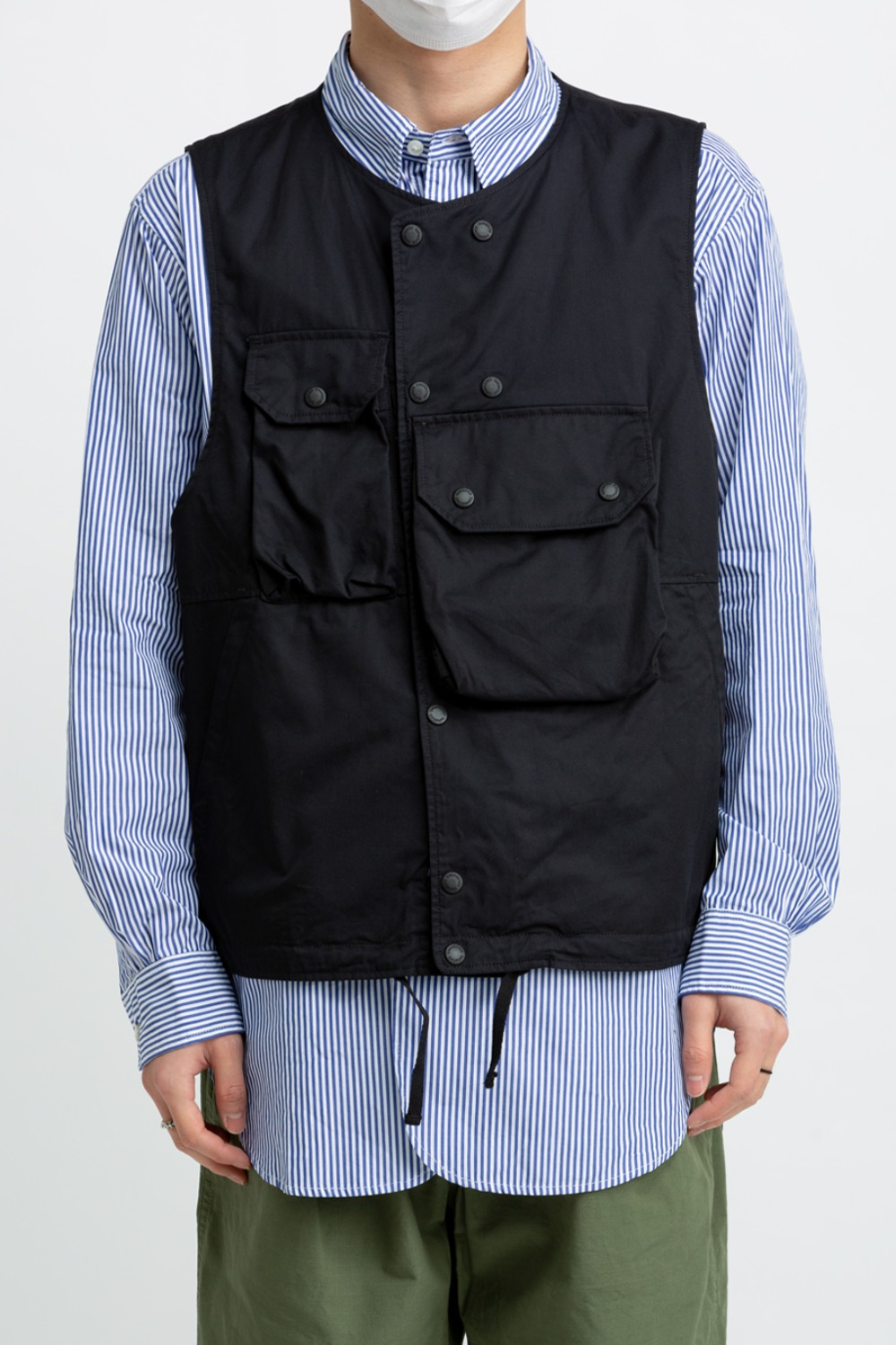 COVER VEST BLACK HIGH COUNT TWILL