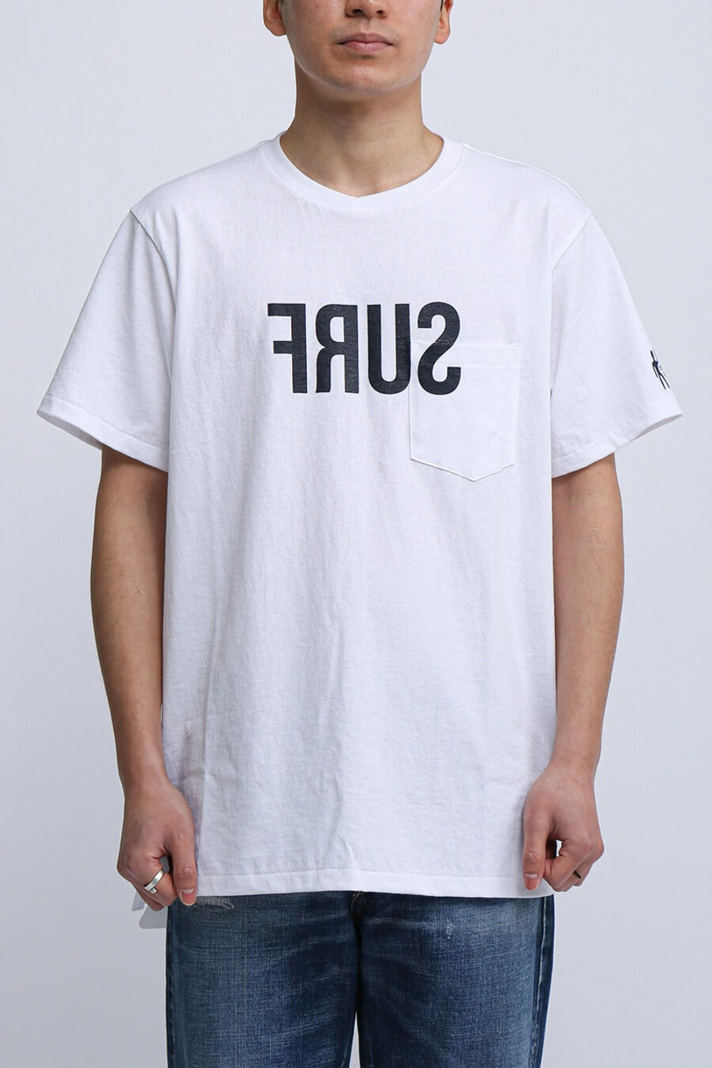 FOR SCULP X PRINTED CROSS CREW NECK T-SHIRT SURF WHITE
