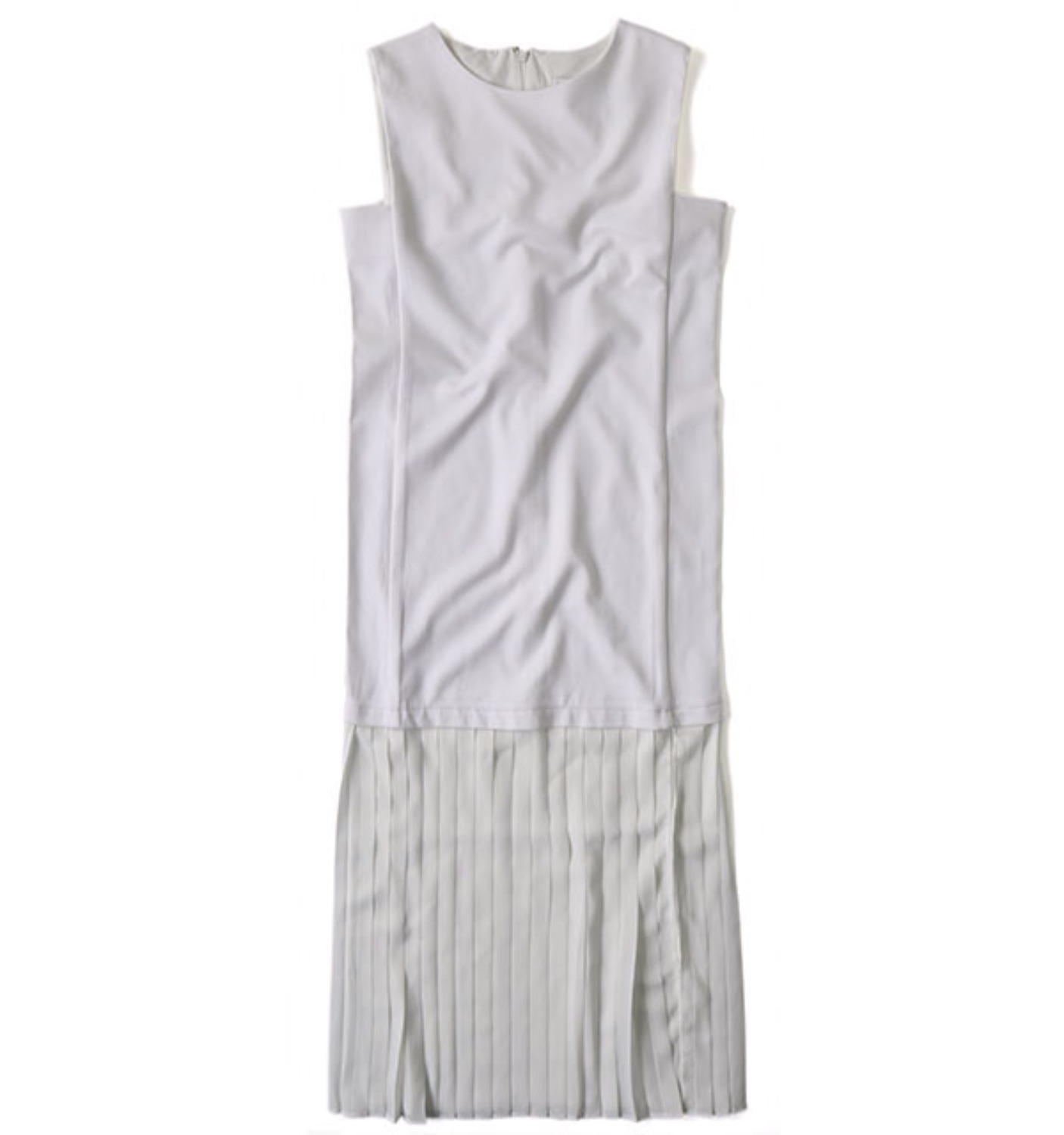Sleeveless Pleats One-piece Dress WHITE (ND-1005)