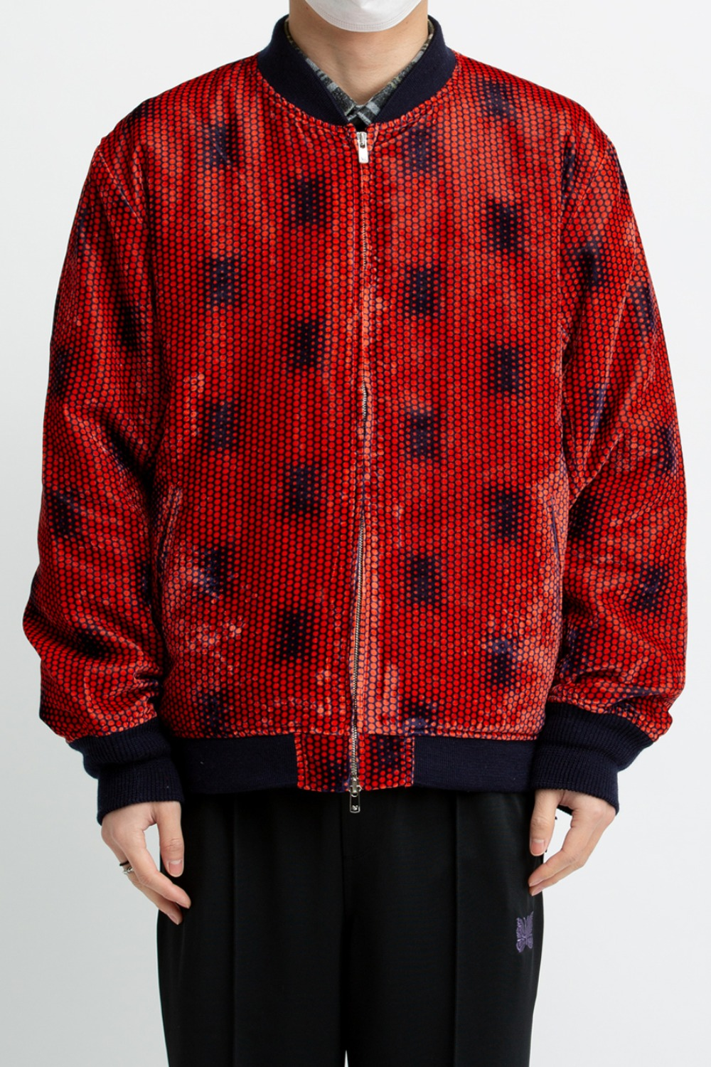 NEEDLES B.B.JACKET - R/PE VELVET/PT. DOT