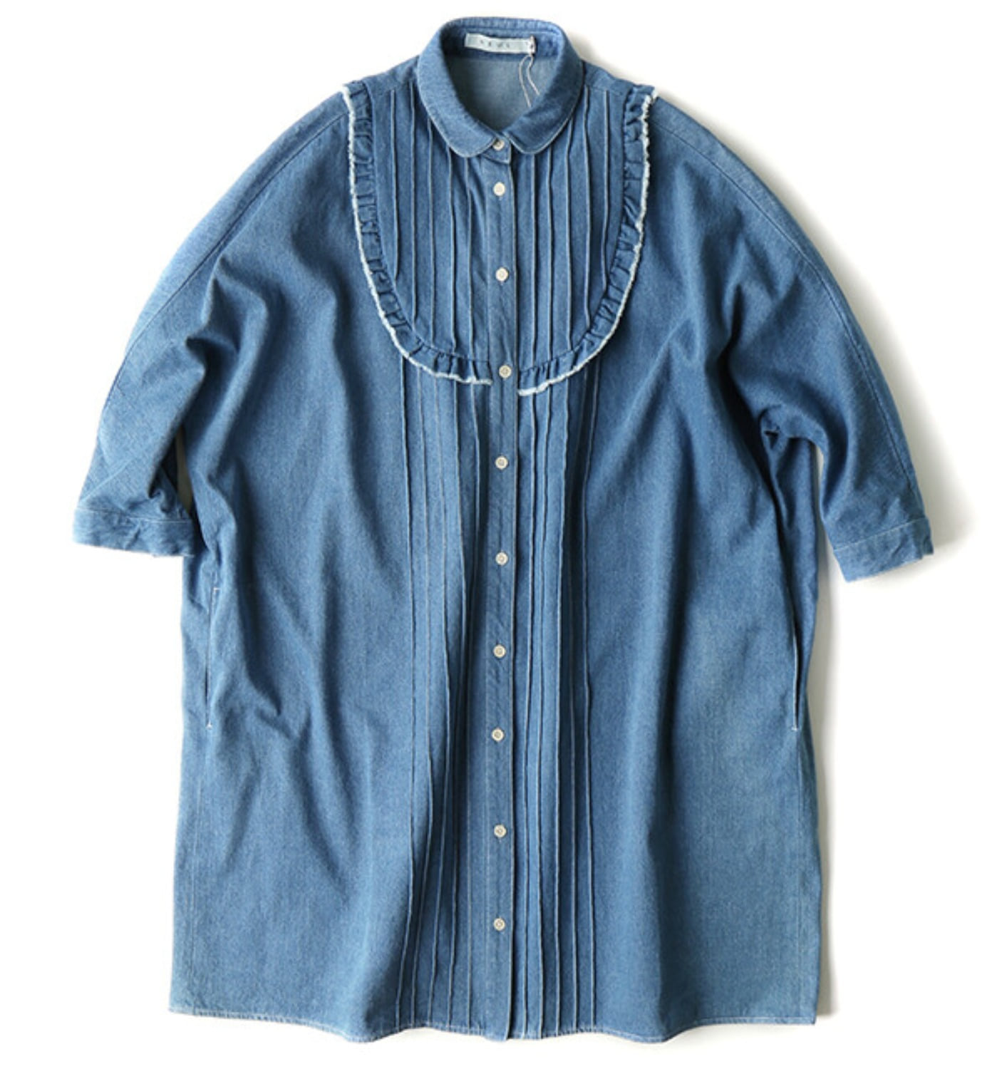 PLASTRON FRILLY DENIM SHIRT DRESS