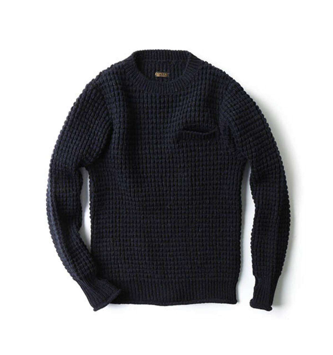 5G Wool Waffle Crew neck Sweater navy