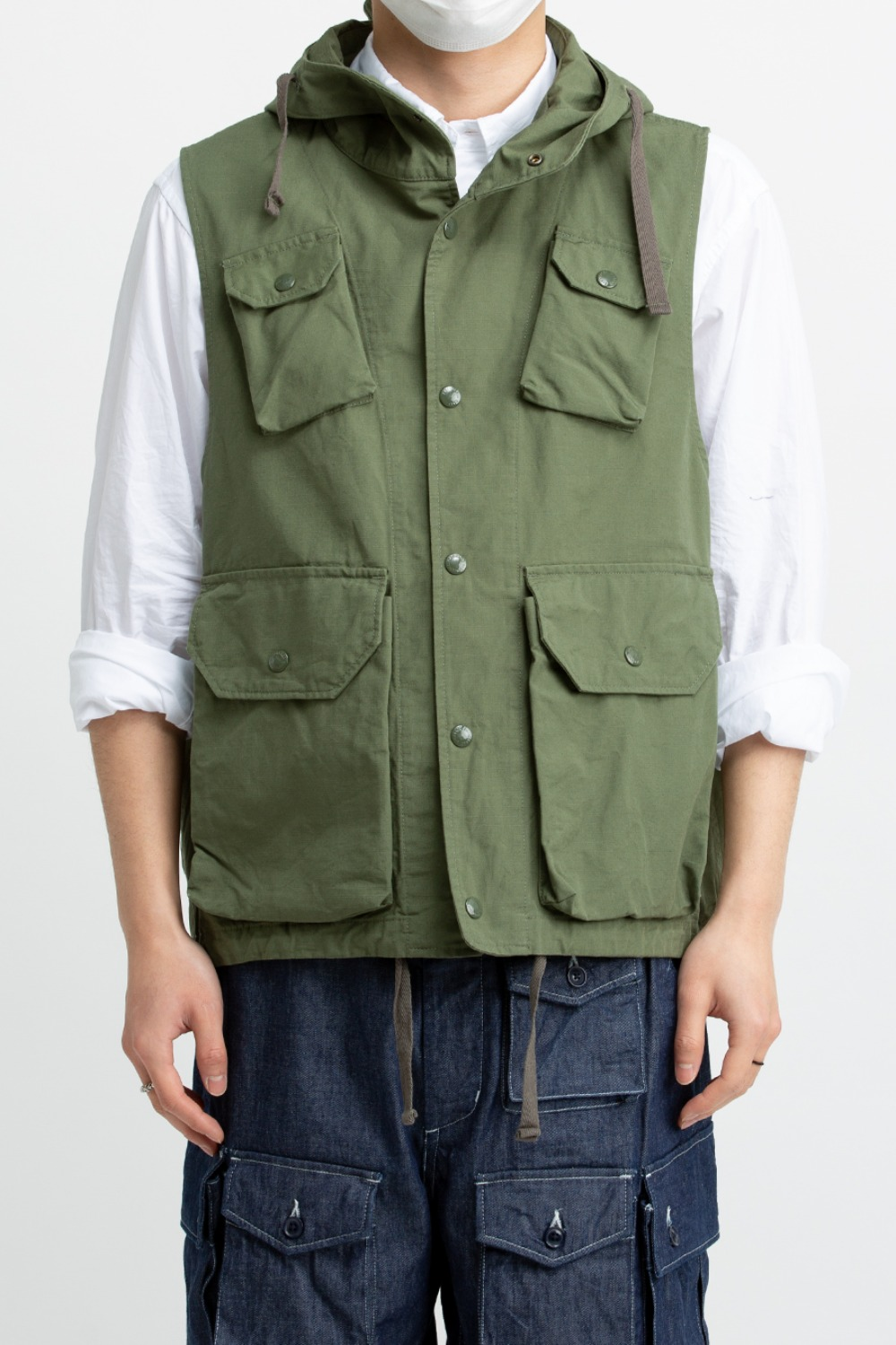 FIELD VEST OLIVE COTTON RIPSTOP