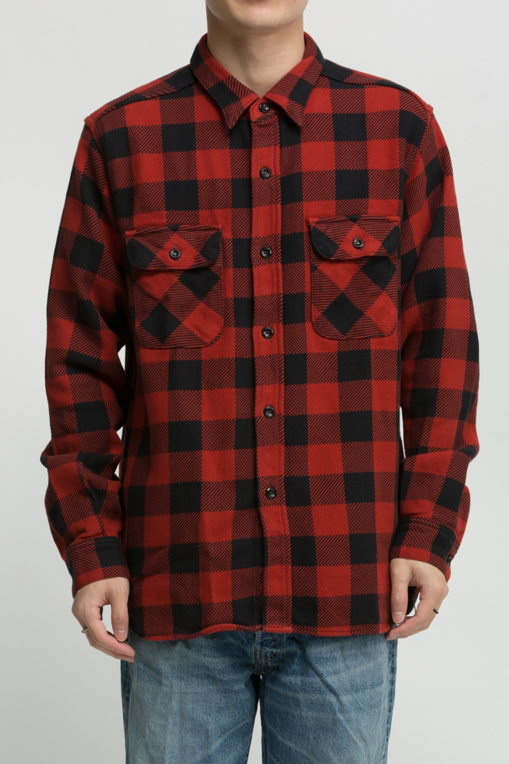 8HU BUFFALO CHECK FLANNEL SHIRT RED/BLACK
