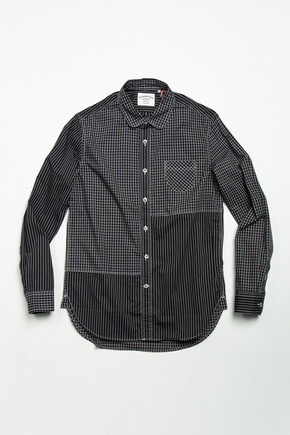 DE09 COTTON CHECK AND STRIPE BLACK/BLACK