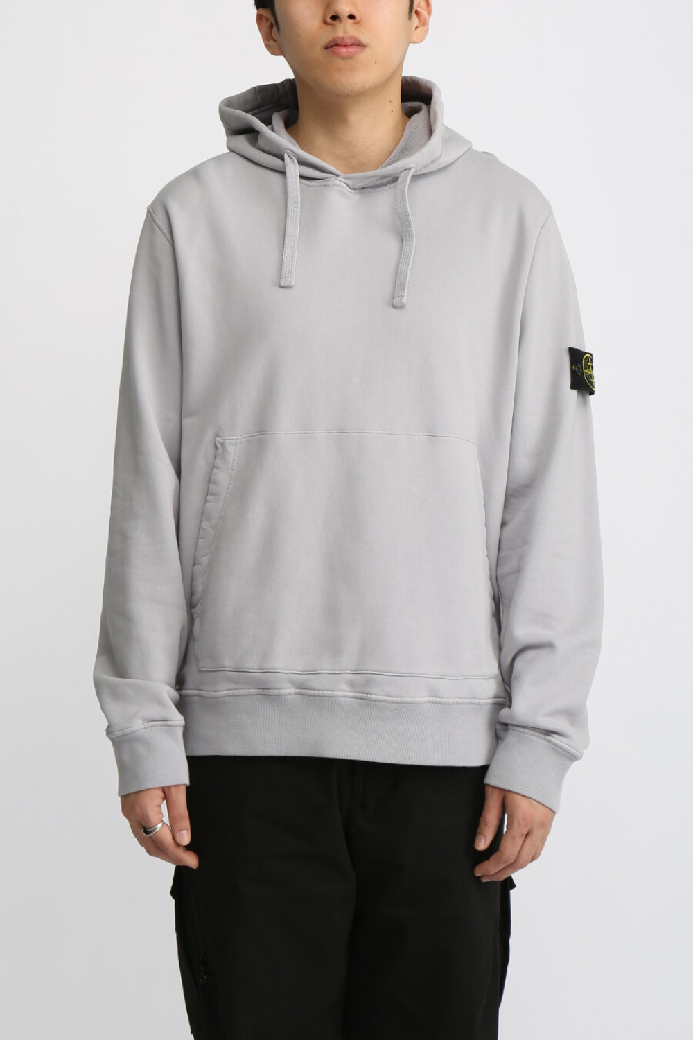 COTTON FLEECE GARMENT DYED HOODED SWEAT SHIRT GREY