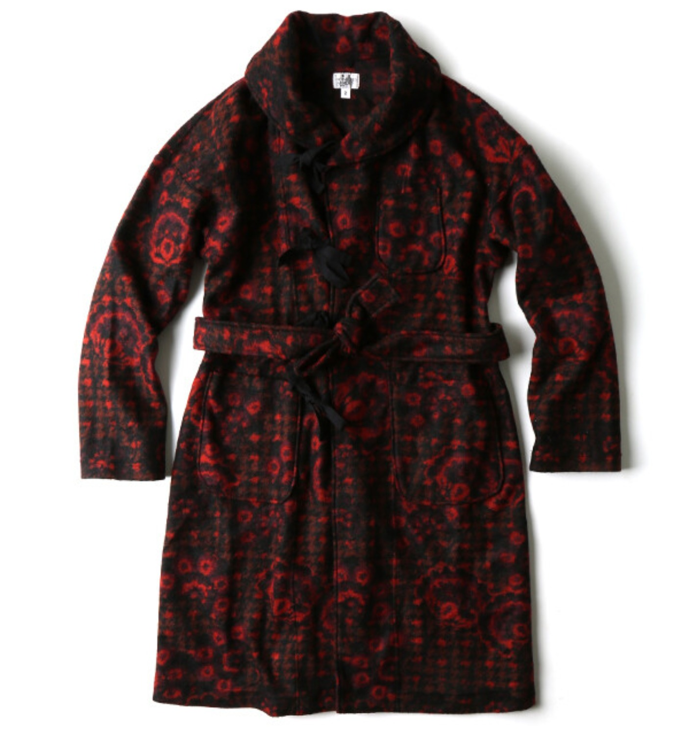 SHAWL COLLAR KNIT JACKET RED/BLACK FLORAL KNIT