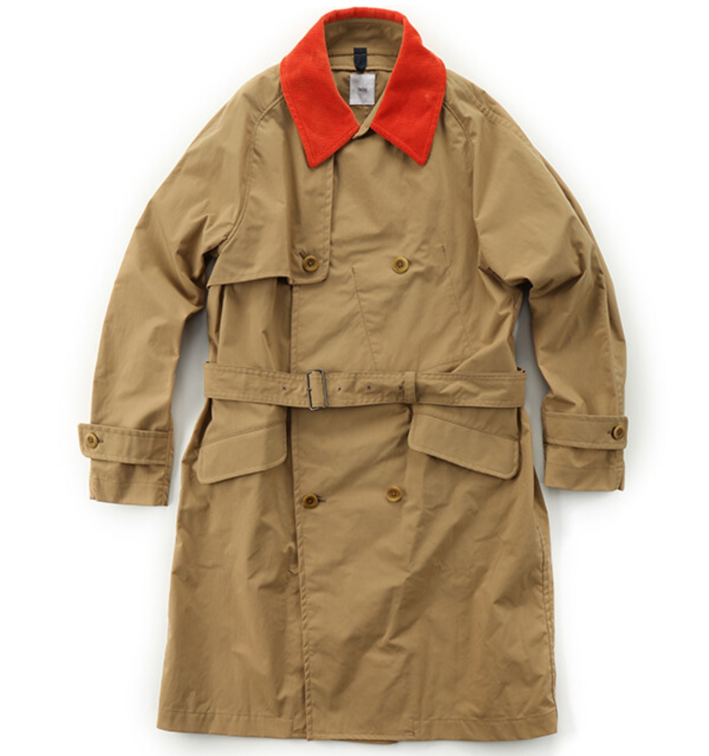 Double-breasted Raglan Sleeve Trench Coat KHAKI