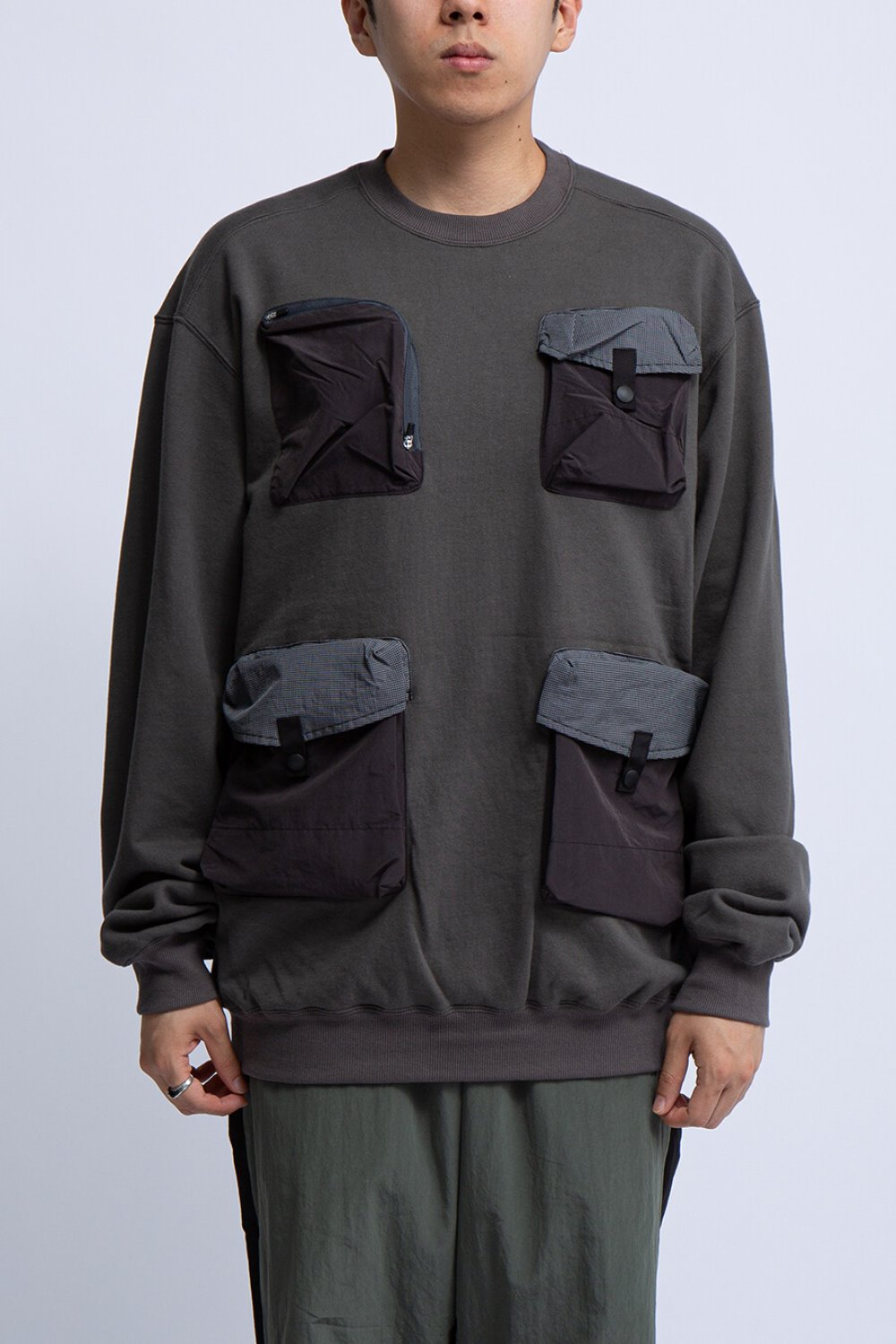 UTILITY CREW SWEAT SHIRT(BAL-1890) CHARCOAL