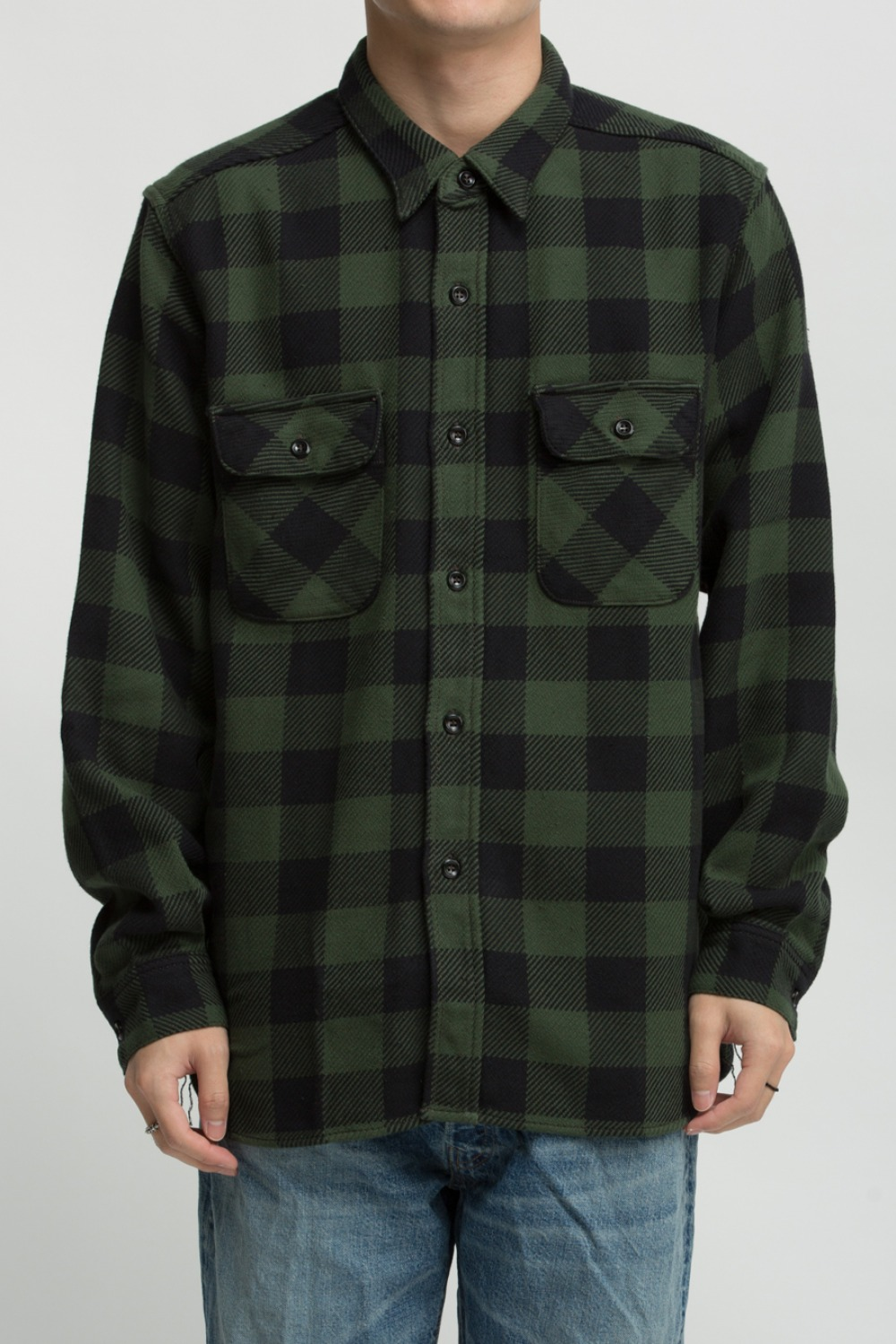 8HU BUFFALO CHECK FLANNEL SHIRT FOREST/BLACK