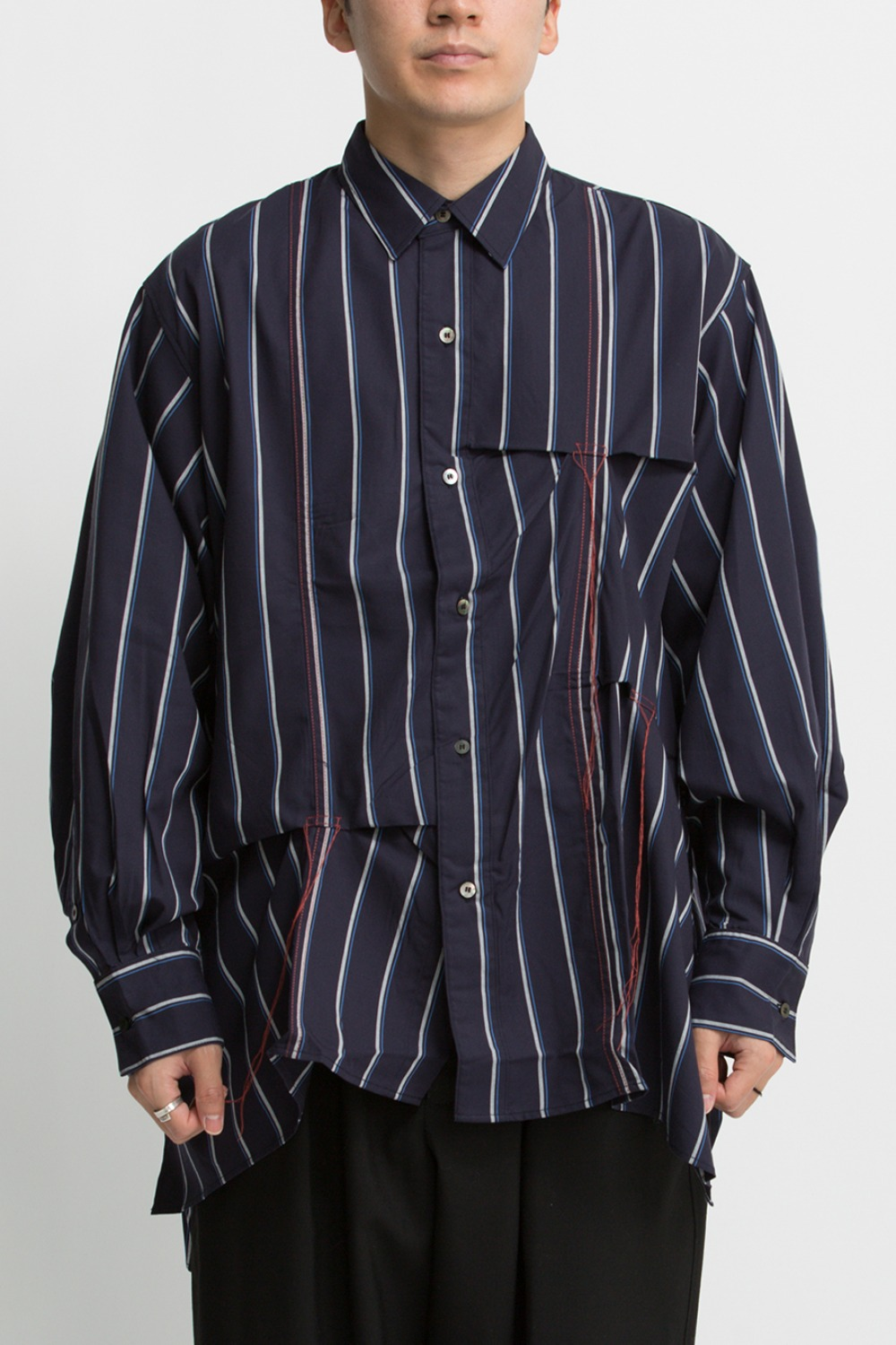 HAND STITCH STRIPE SHIRT NAVY