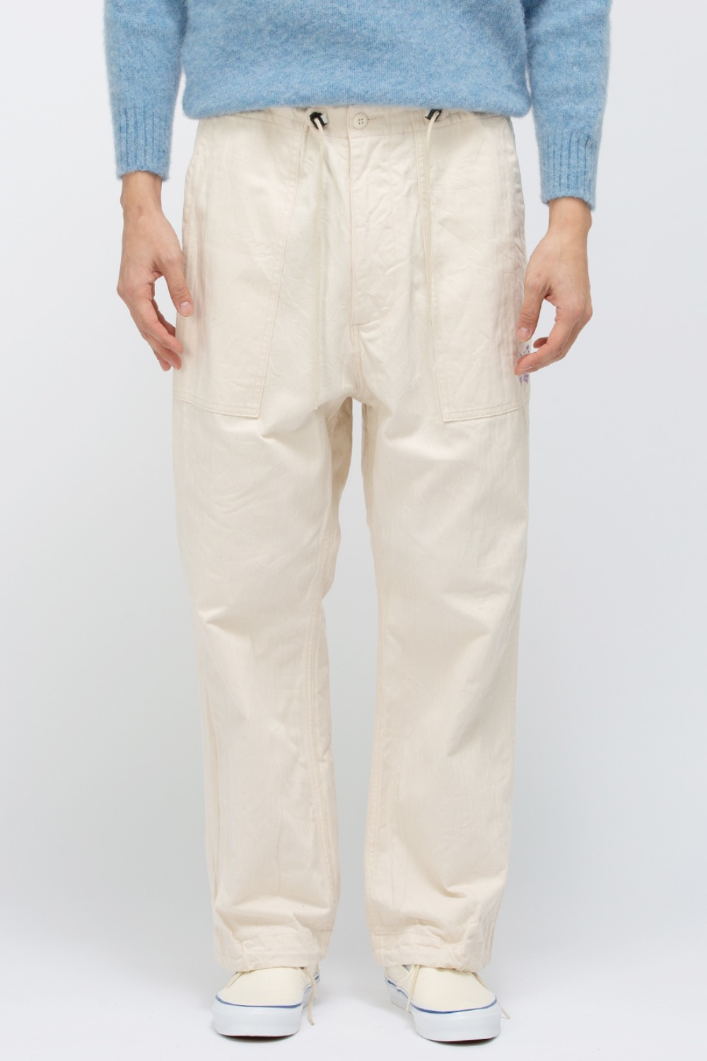 STRING FATIGUE PANT - COTTON HERRINGBONE OFFWHITE