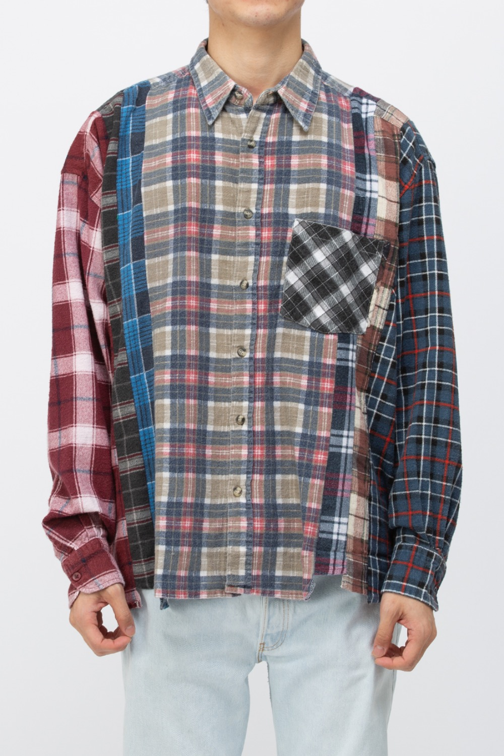 (WIDE-6)REBUILD BY NEEDLES FLANNEL SHIRT - 7CUTS WIDE SHIRT