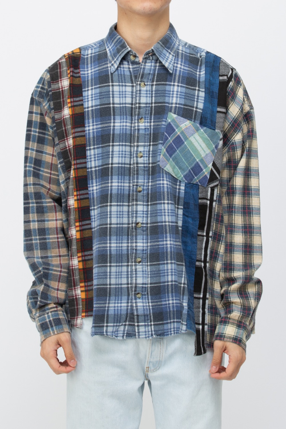 (WIDE-3)REBUILD BY NEEDLES FLANNEL SHIRT - 7CUTS WIDE SHIRT