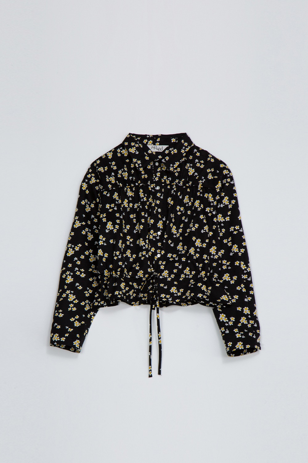 BIEN SHIRT JACKET -BLACK FLORAL ARTWORK
