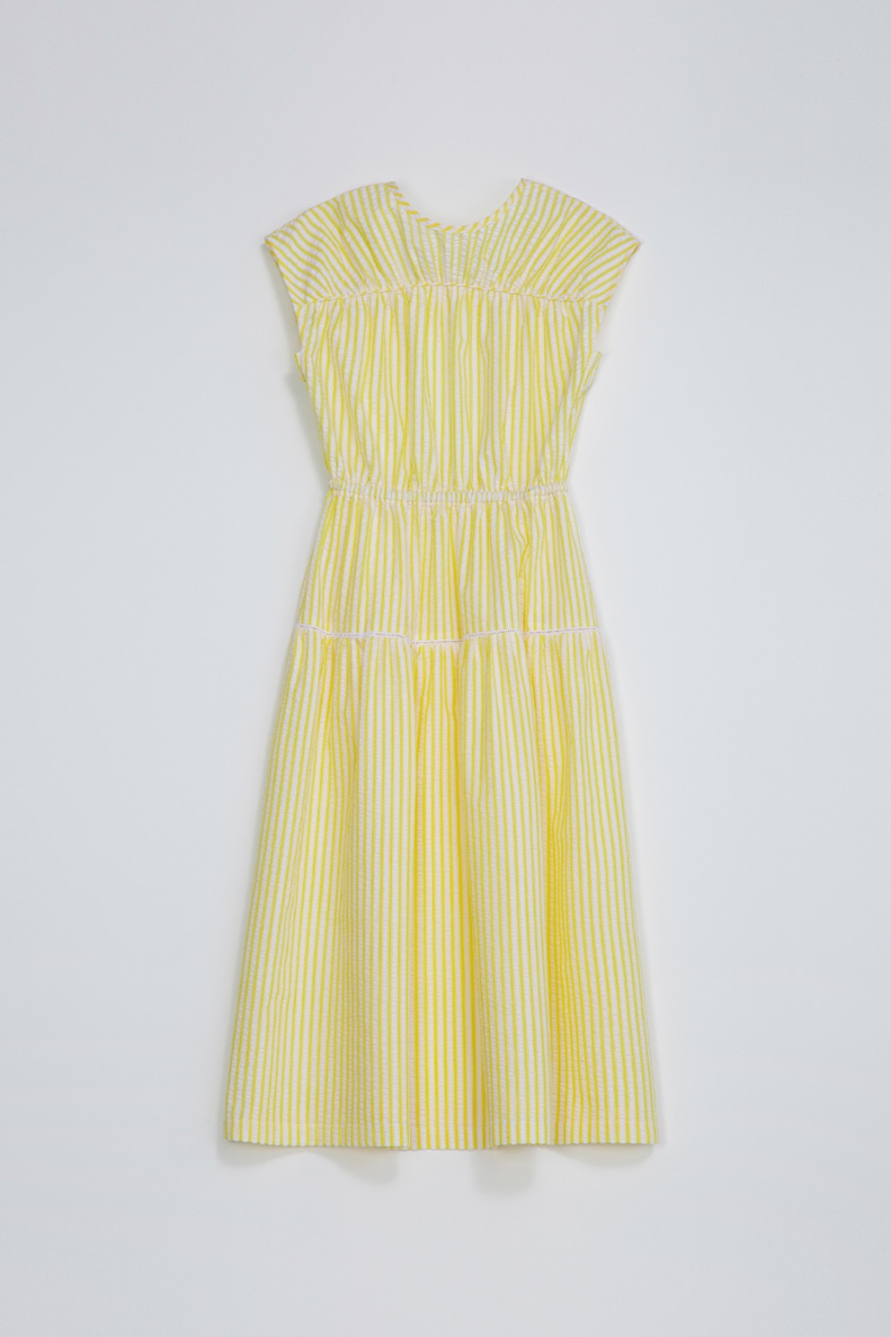 DE CUT-OUT DRESS - LEMON SEERSUCKER